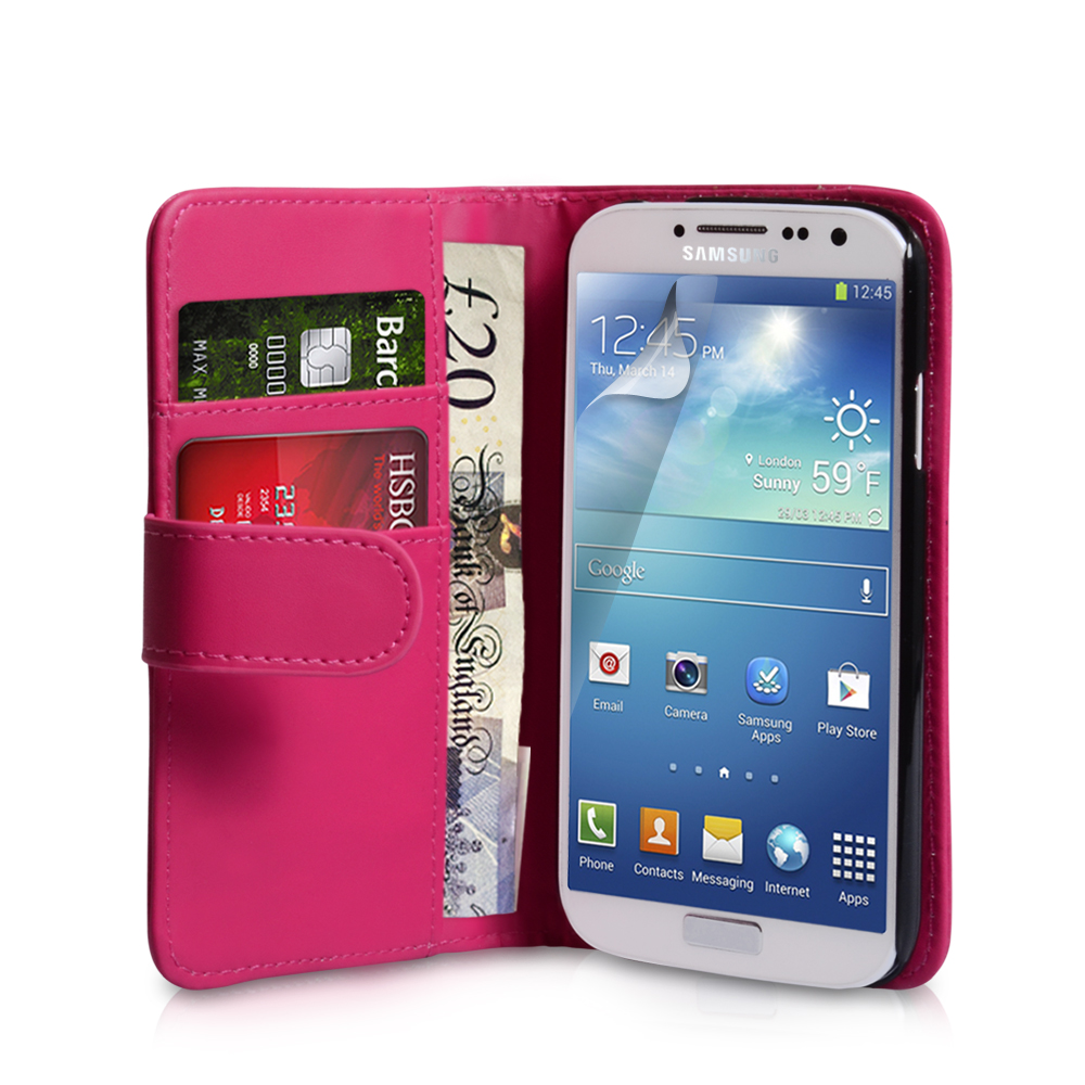 YouSave Samsung Galaxy S4 Leather Effect Wallet Case - Hot Pink