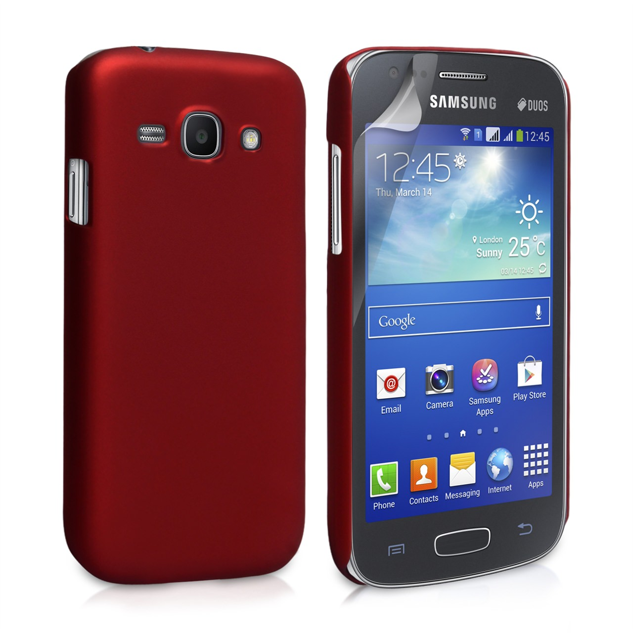 YouSave Accessories Samsung Galaxy Ace 3 Hard Hybrid Case - Red