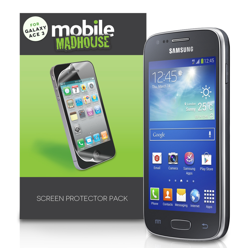 mobile madhouse samsung galaxy ace 3 screen protectors x3. Black Bedroom Furniture Sets. Home Design Ideas