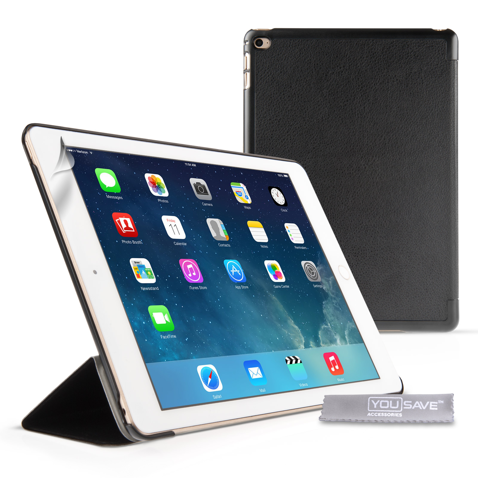 YouSave iPad Air 2 PU Leather Smart Cover with Sleep/Wake and Stand Functions Black