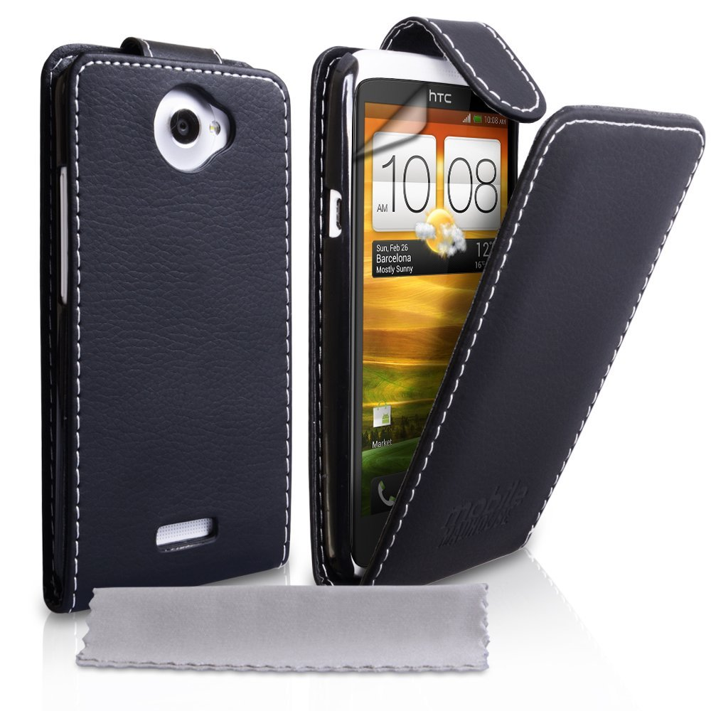 YouSave HTC One X Leather Effect Flip Case Black With White Stitching