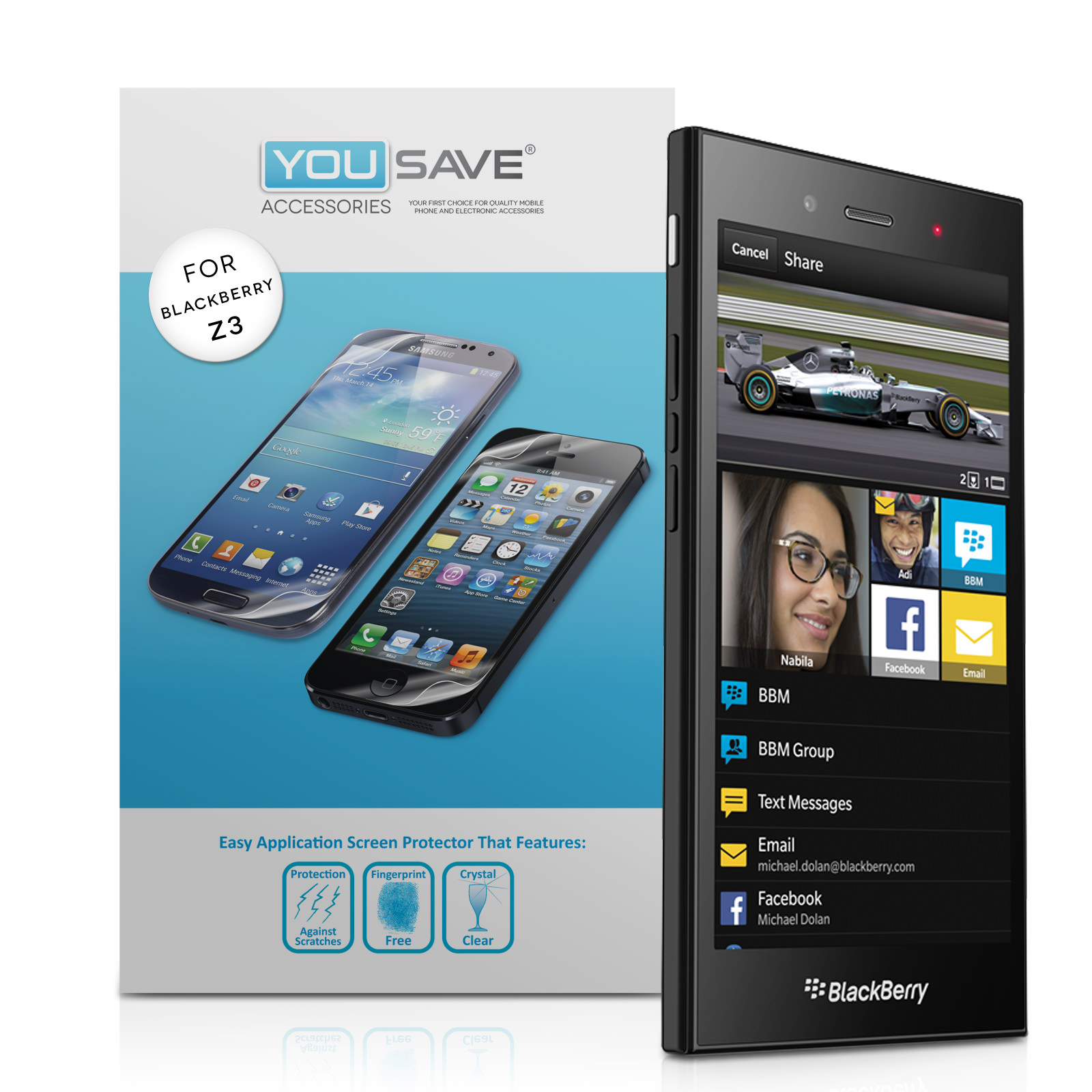 YouSave Accessories Blackberry Z3 Screen Protectors x3