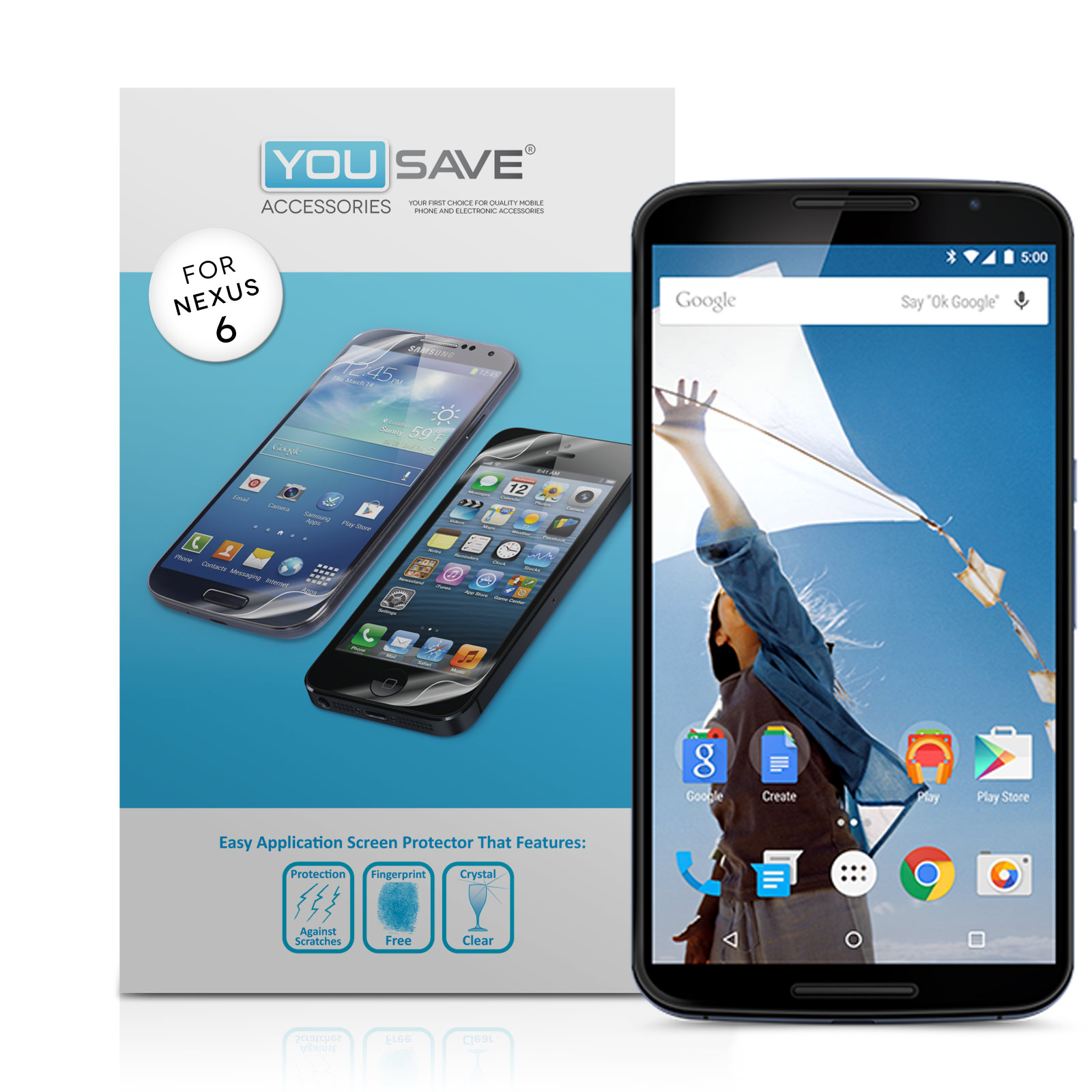YouSave Accessories Google Nexus 6 Screen Protectors x3