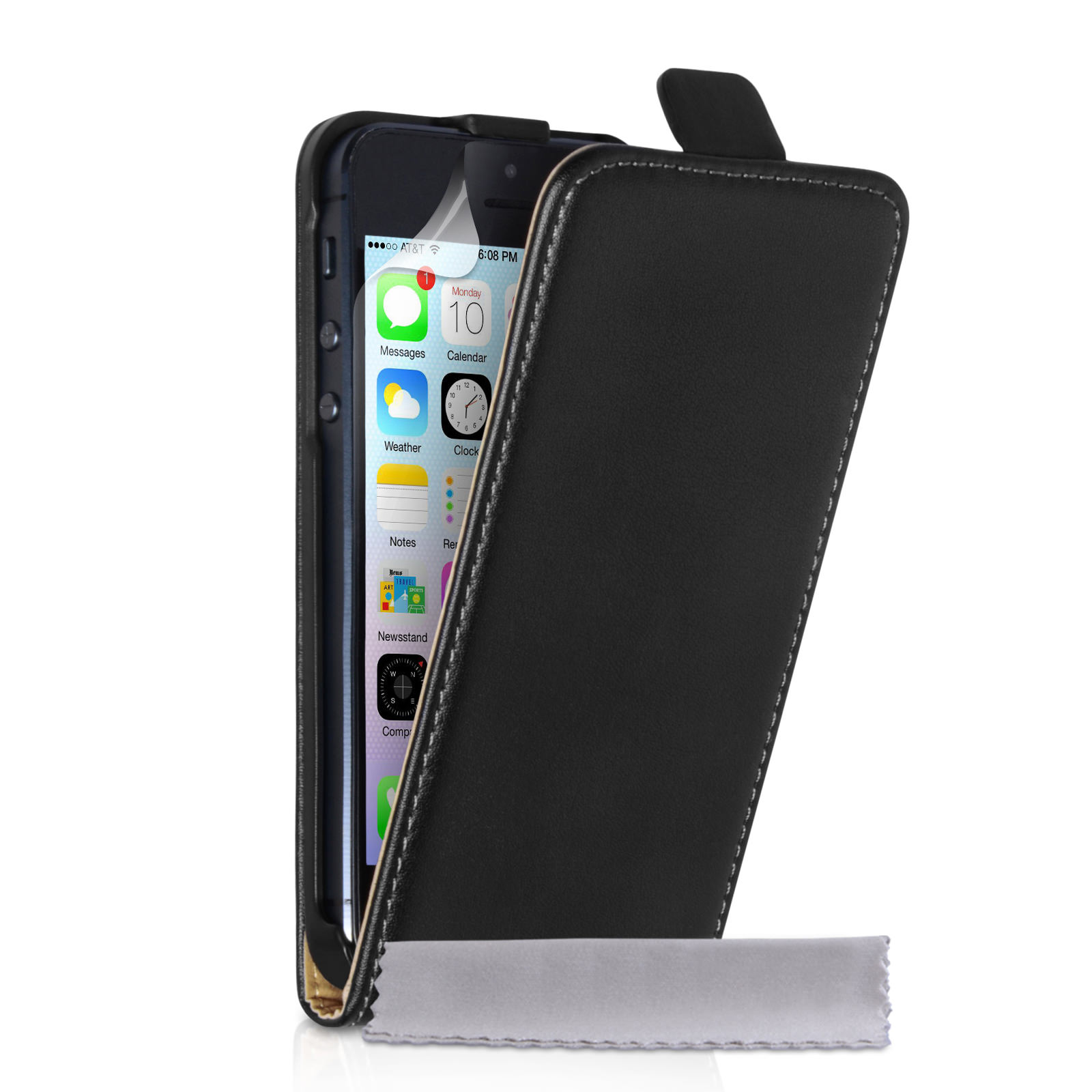 Caseflex iPhone 5 / 5S Real Leather Flip Case - Black