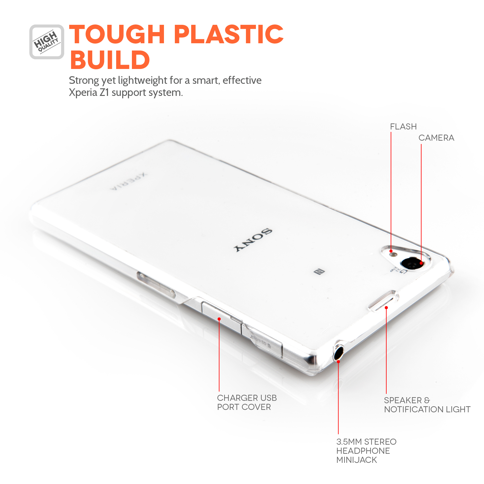 YouSave Accessories Sony Xperia Z1 Hard Case - Clear