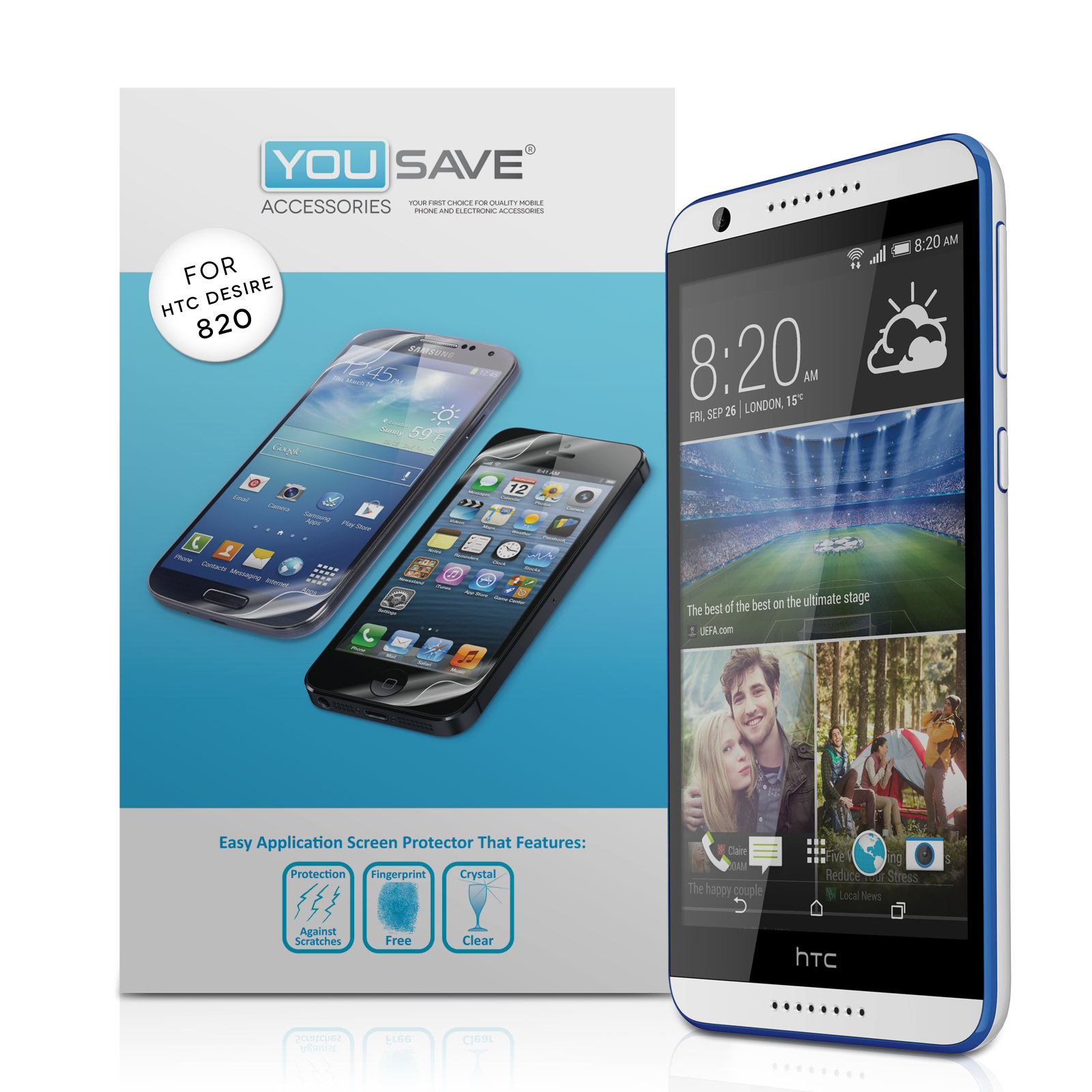 YouSave Accessories HTC Desire 820 Screen Protectors x3
