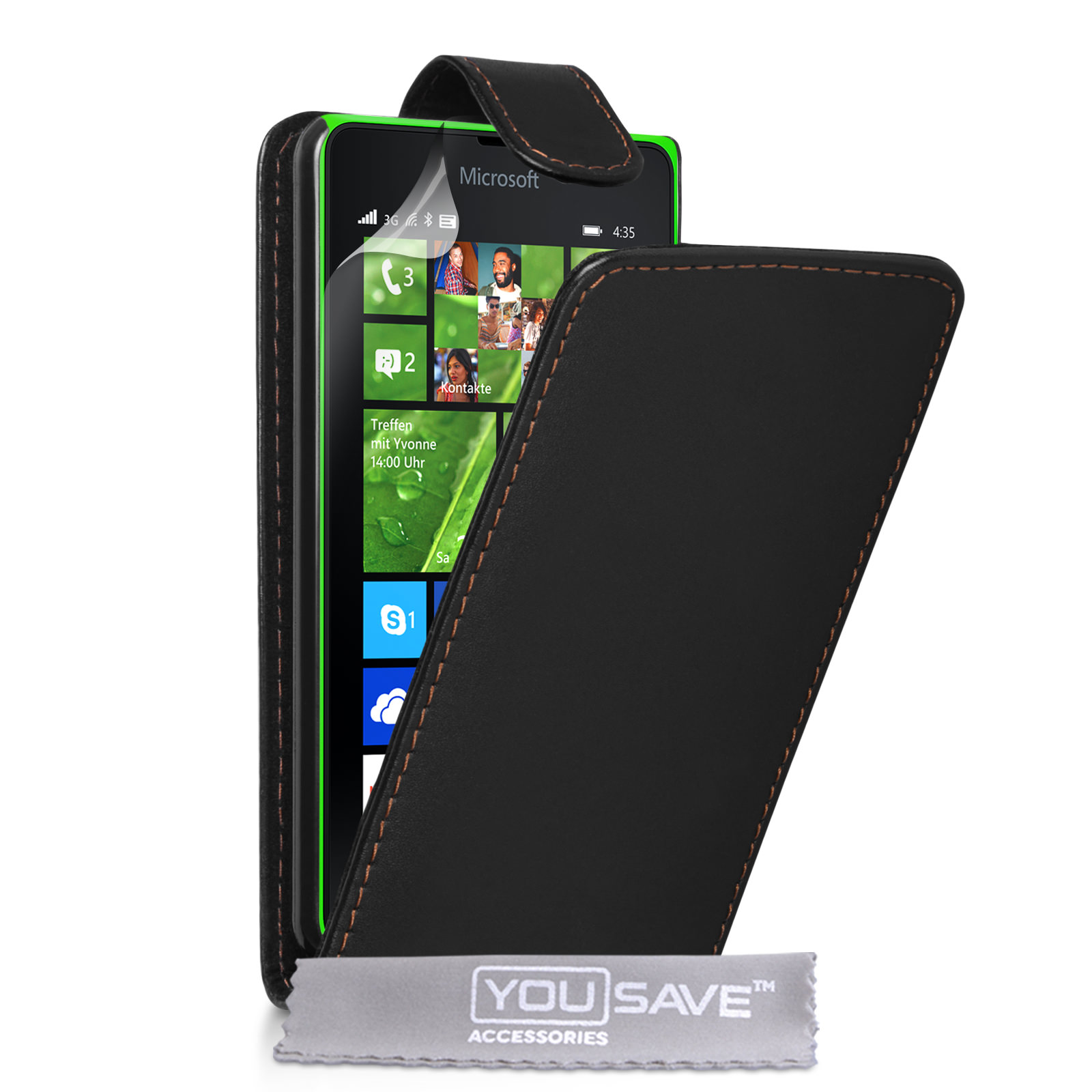 YouSave Microsoft Lumia 435 Leather-Effect Flip Case - Black