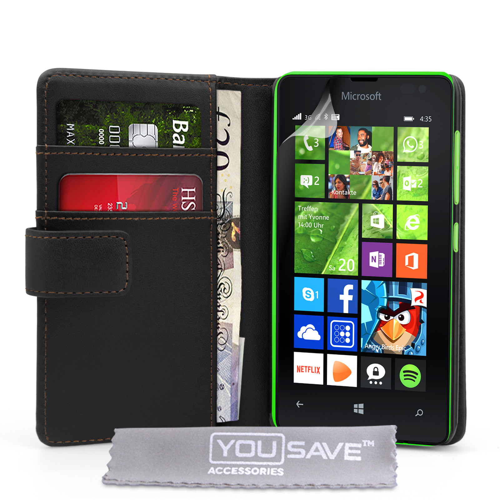 YouSave Microsoft Lumia 435 Leather-Effect Wallet Case - Black