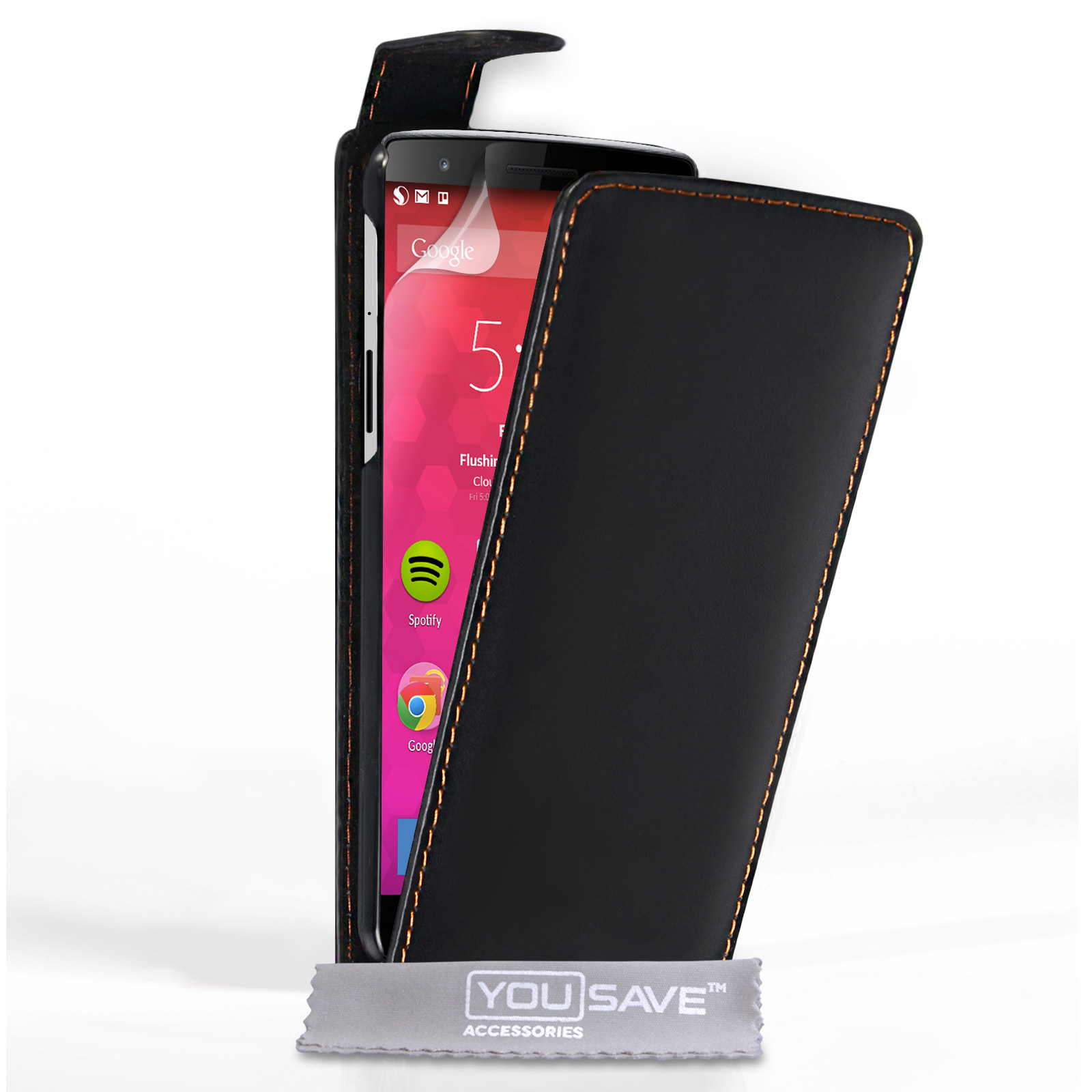 YouSave Accessories OnePlus Two Leather-Effect Flip Case - Black