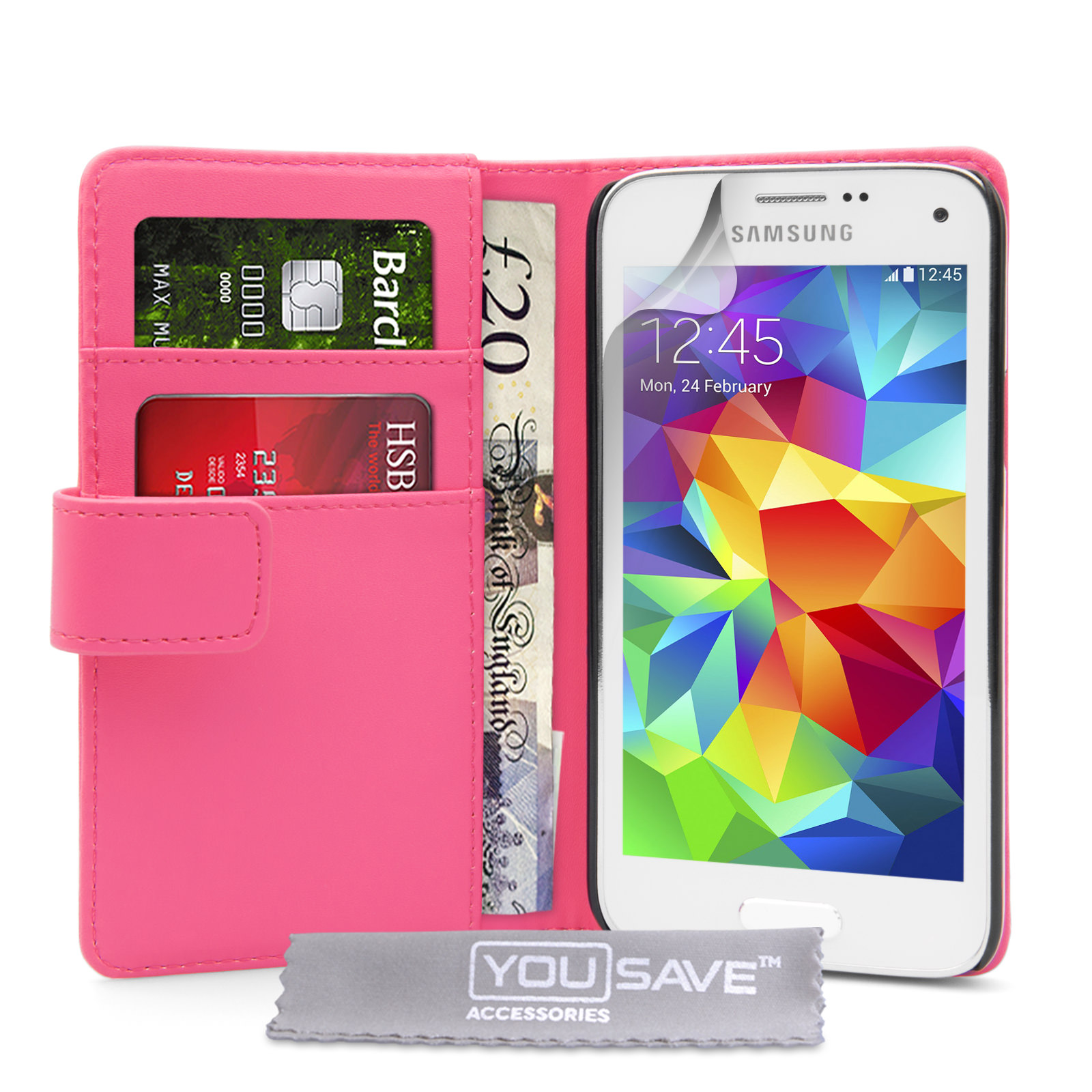 YouSave Samsung Galaxy S5 Mini Leather-Effect Wallet Case - Hot Pink
