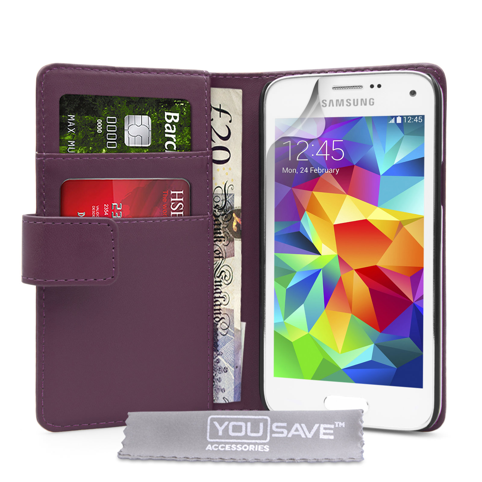 YouSave Samsung Galaxy S5 Mini Leather-Effect Wallet Case - Purple