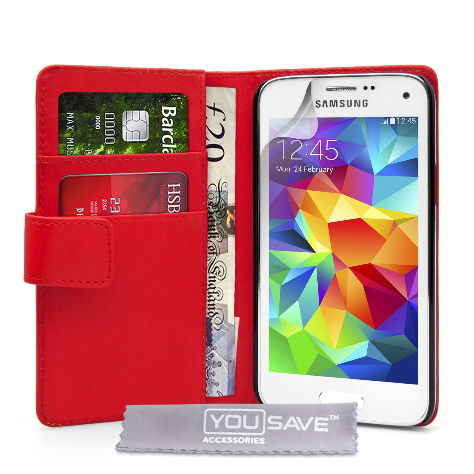 YouSave Samsung Galaxy S5 Mini Leather-Effect Wallet Case - Red