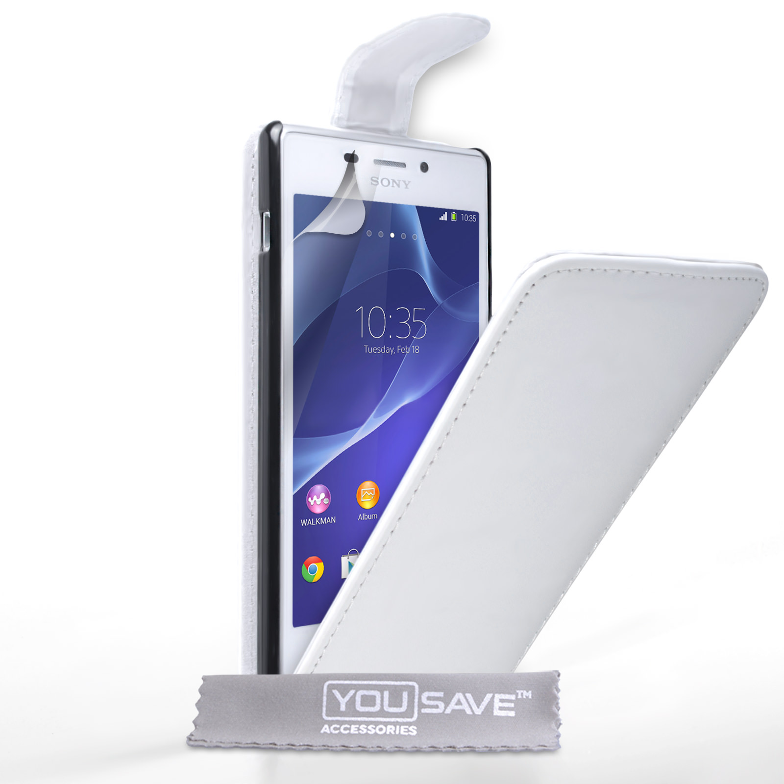 YouSave Accessories Sony Xperia M2 Leather-Effect Flip Case - White