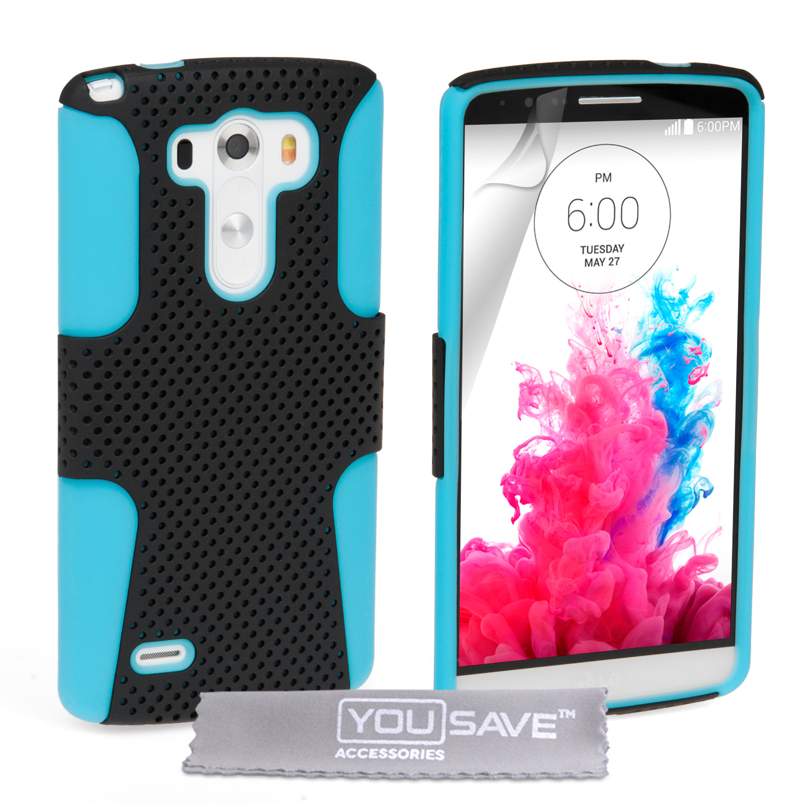 YouSave Accessories LG G3 Tough Mesh Combo Silicone Case - Blue-Black