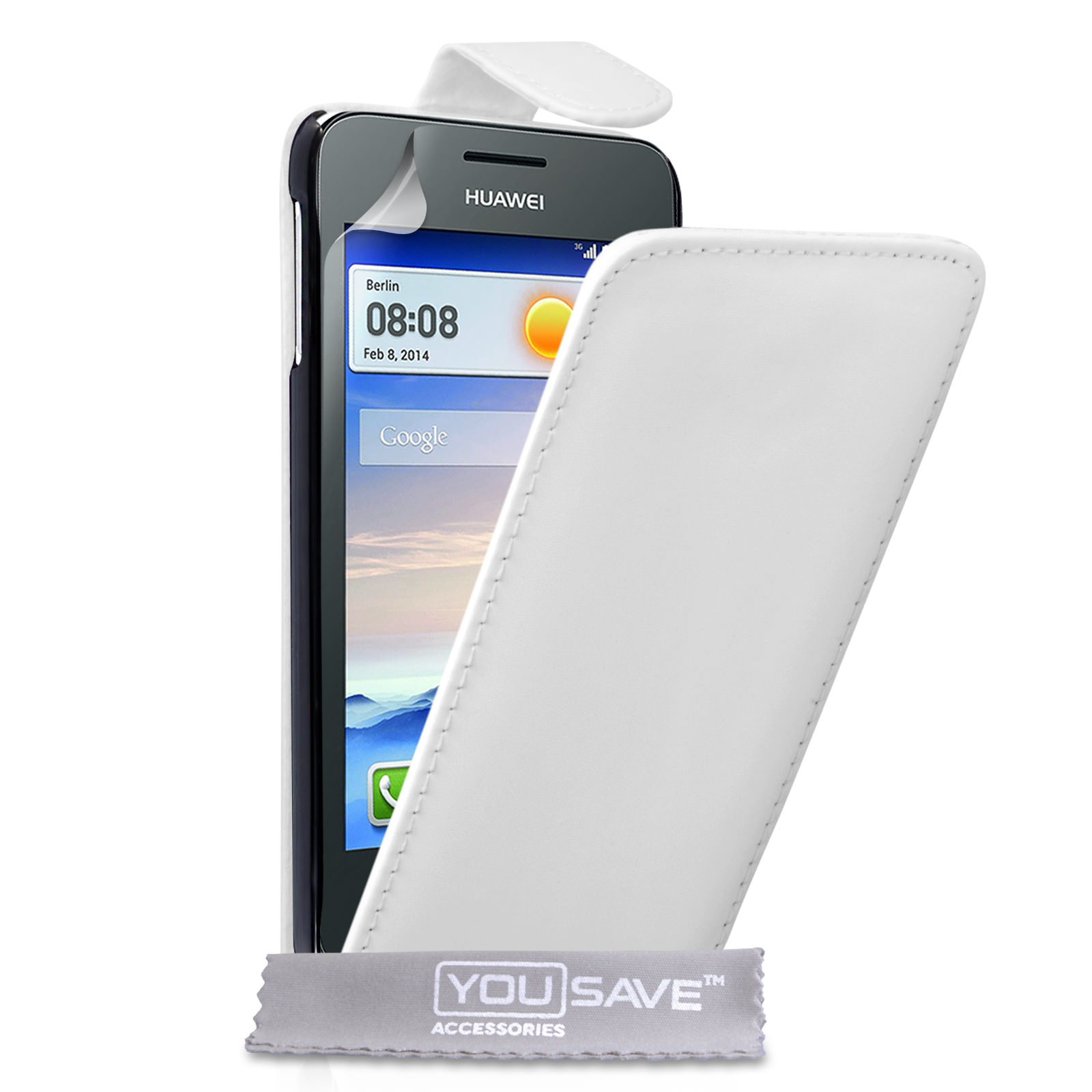 YouSave Huawei Ascend Y330 Leather-Effect Flip Case - White