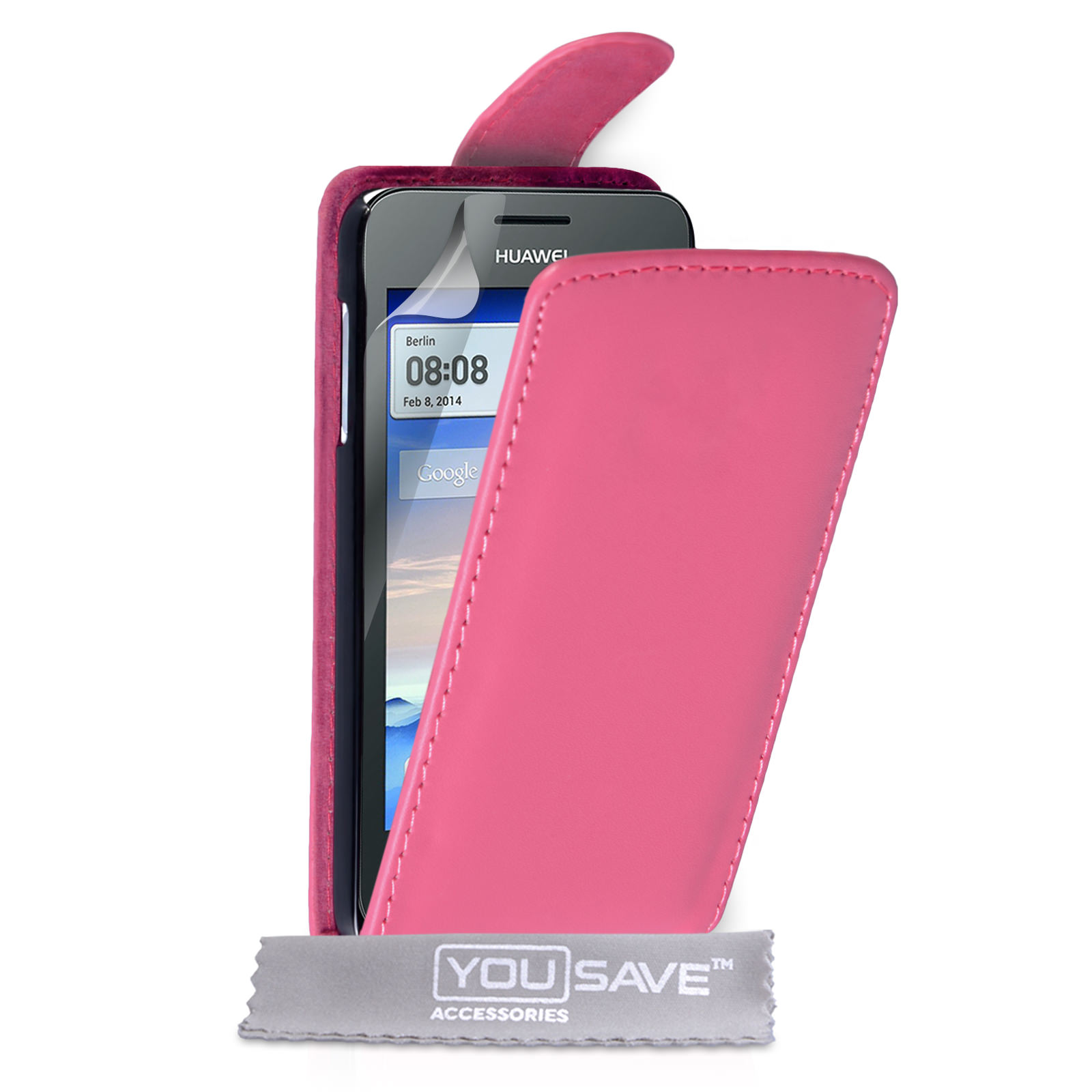 YouSave Huawei Ascend Y330 Leather-Effect Flip Case - Hot Pink