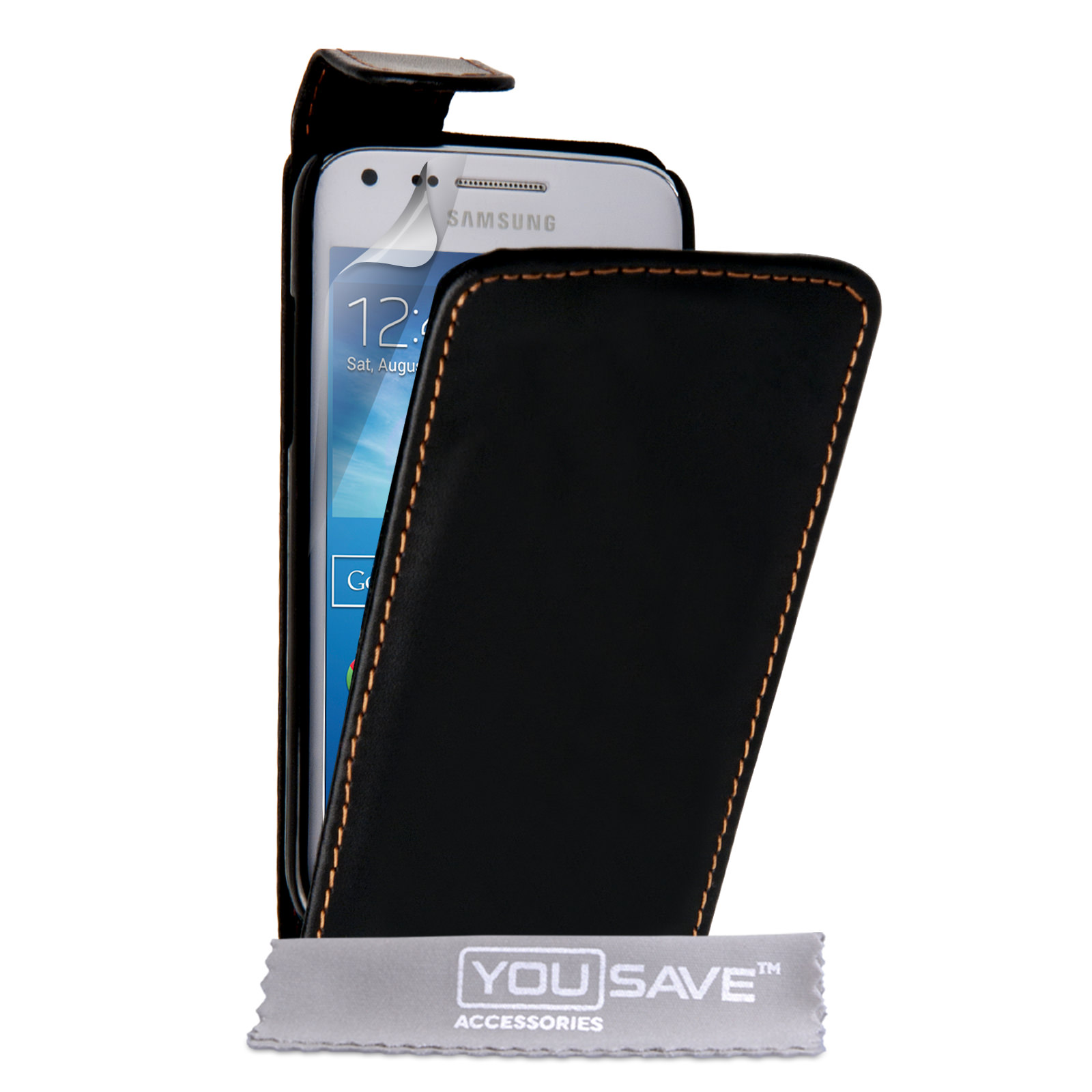 samsung galaxy core plus leather effect flip case black. Black Bedroom Furniture Sets. Home Design Ideas