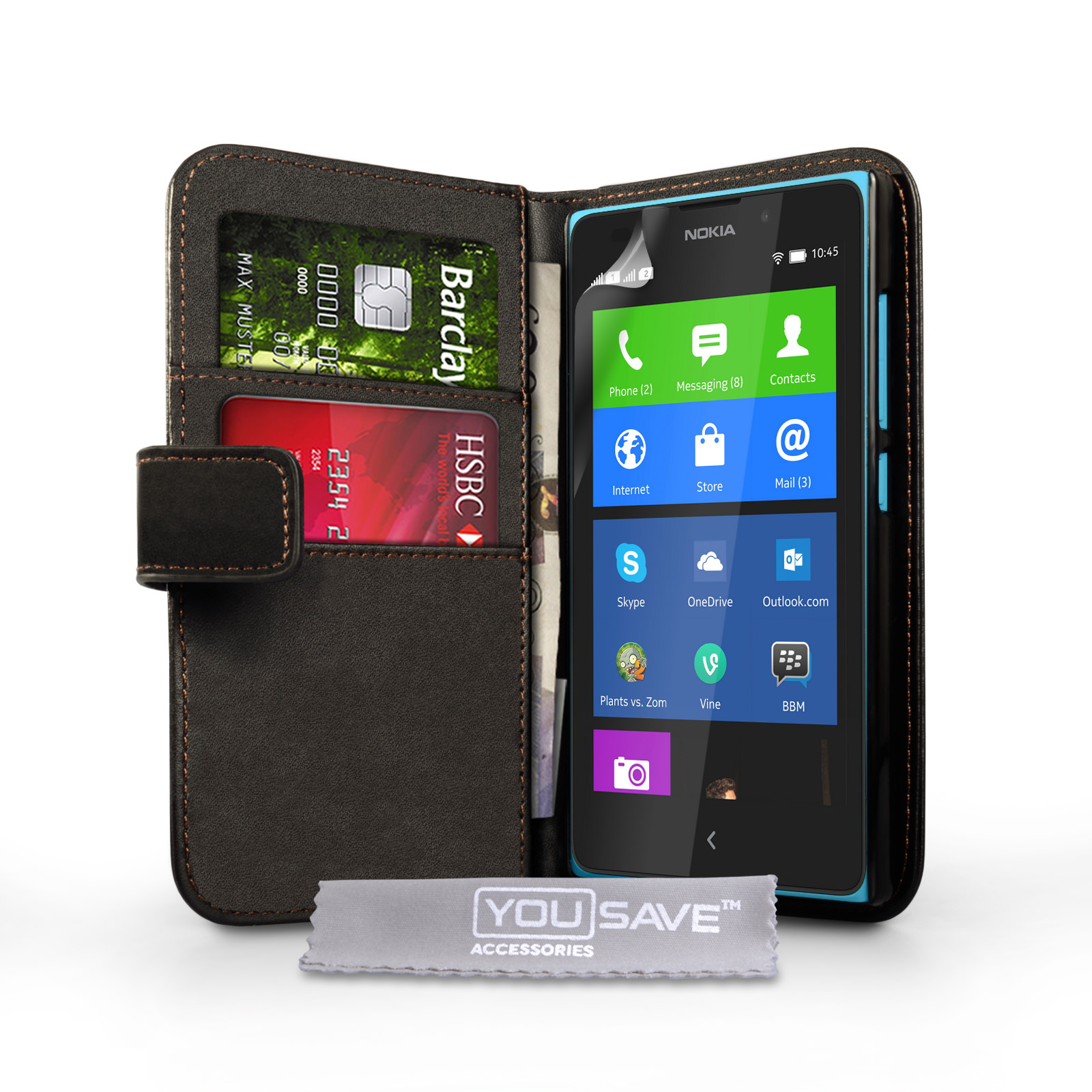YouSave Accessories Nokia XL Leather-Effect Wallet Case - Black