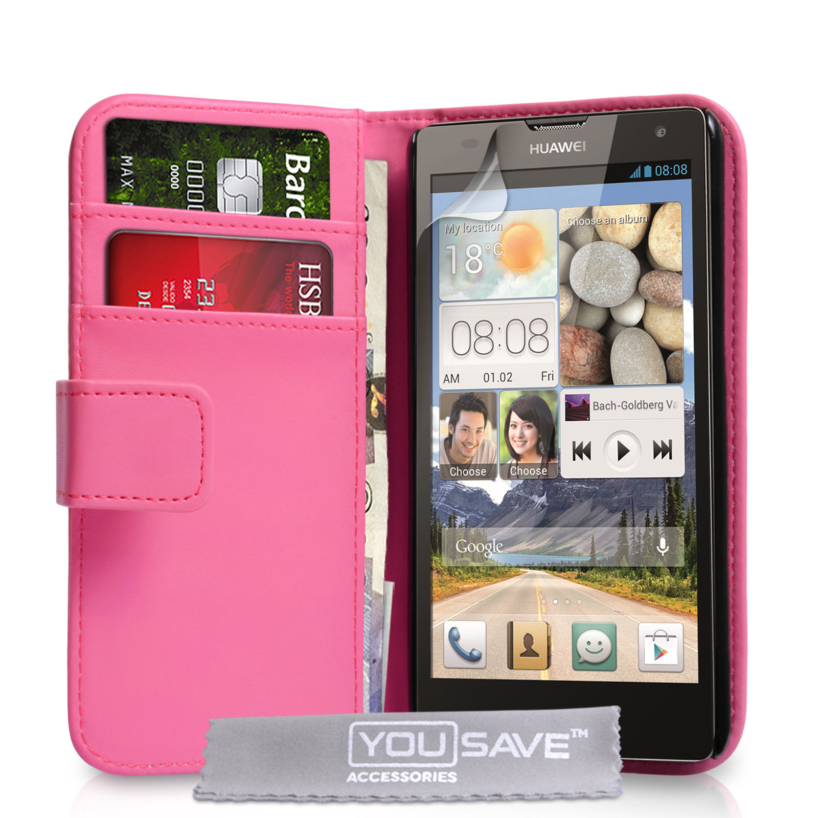 YouSave Huawei Ascend G740 Leather-Effect Wallet Case - Hot Pink
