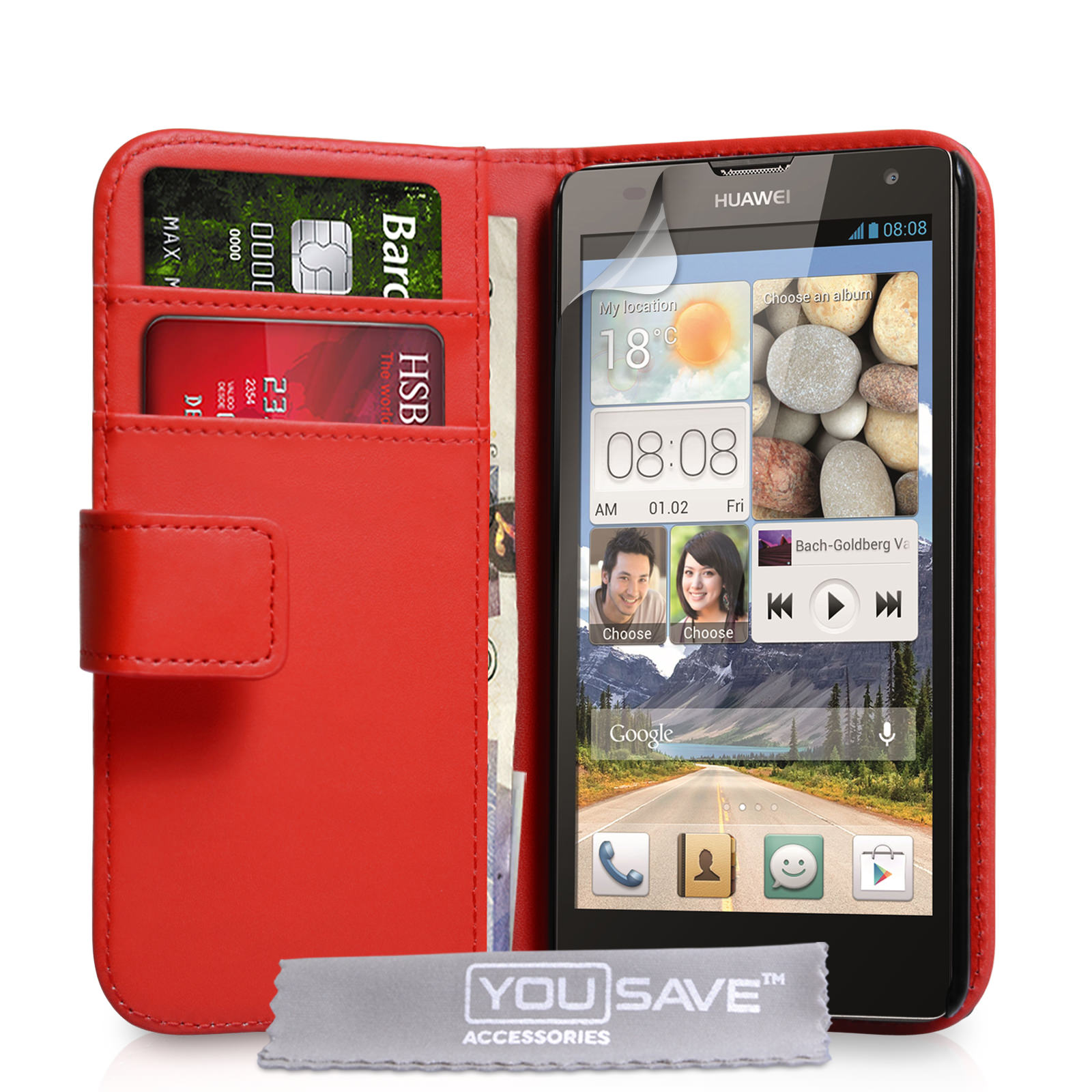 YouSave Huawei Ascend G740 Leather-Effect Wallet Case - Red
