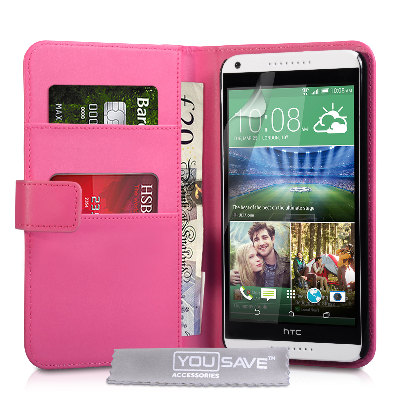 YouSave HTC Desire 816 Leather-Effect Wallet Case - Hot Pink