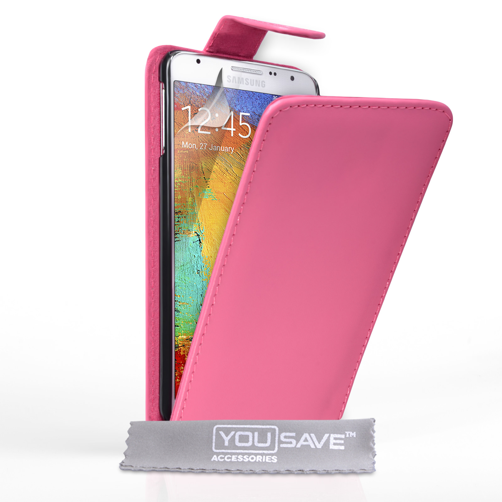 YouSave Samsung Galaxy Note 3 Neo Leather-Effect Flip Case - Hot Pink