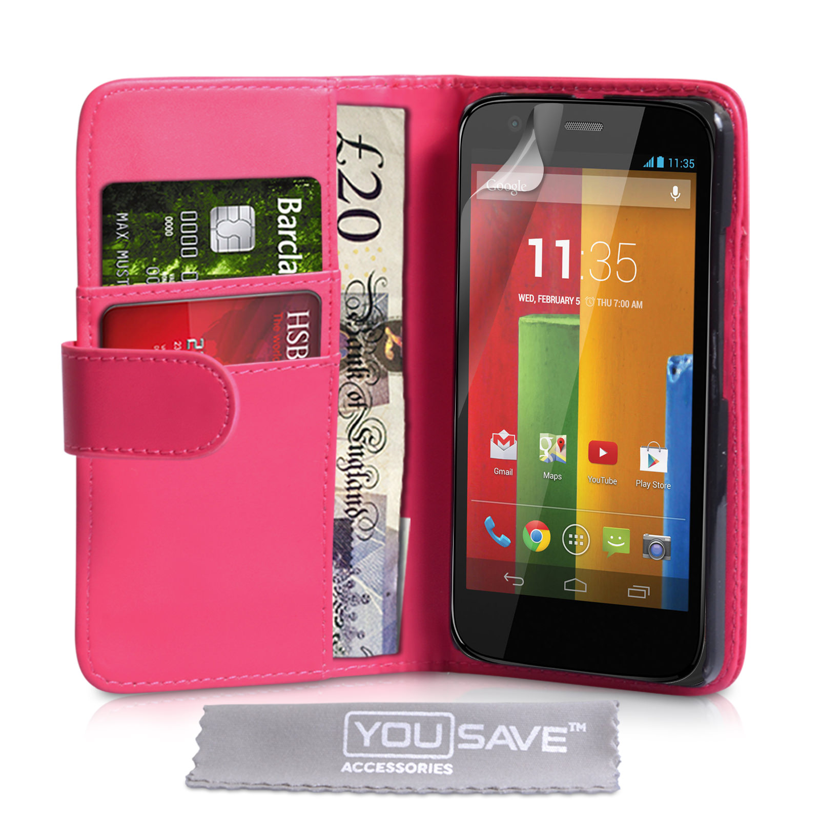 YouSave Motorola Moto G Leather-Effect Wallet Case - Hot Pink