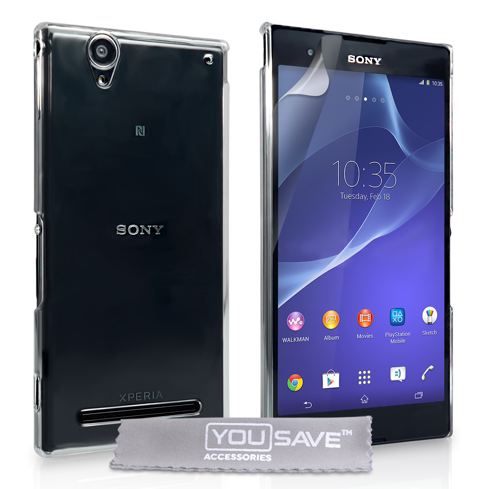YouSave Accessories Sony Xperia T2 Ultra Hard Case - Crystal Clear