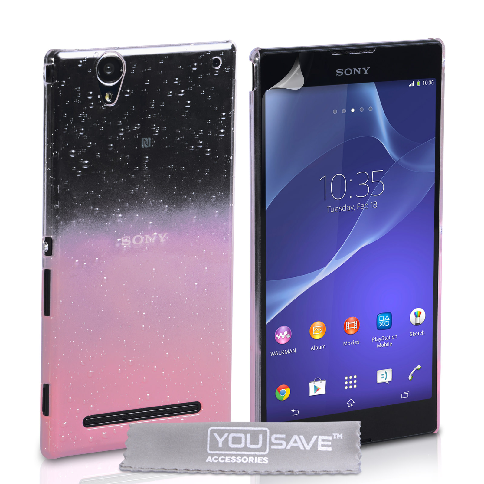 YouSave Sony Xperia T2 Ultra Raindrop Hard Case - Baby Pink-Clear