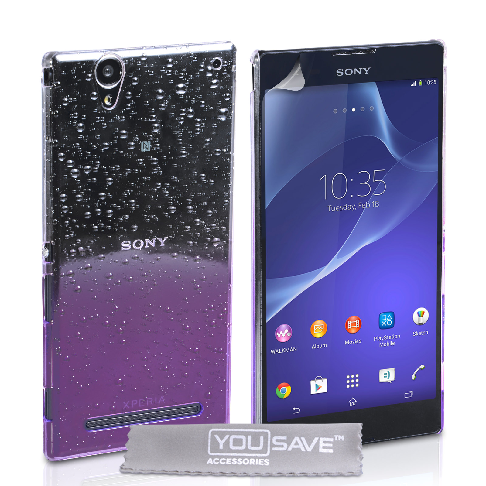 YouSave Sony Xperia T2 Ultra Raindrop Hard Case - Purple-Clear