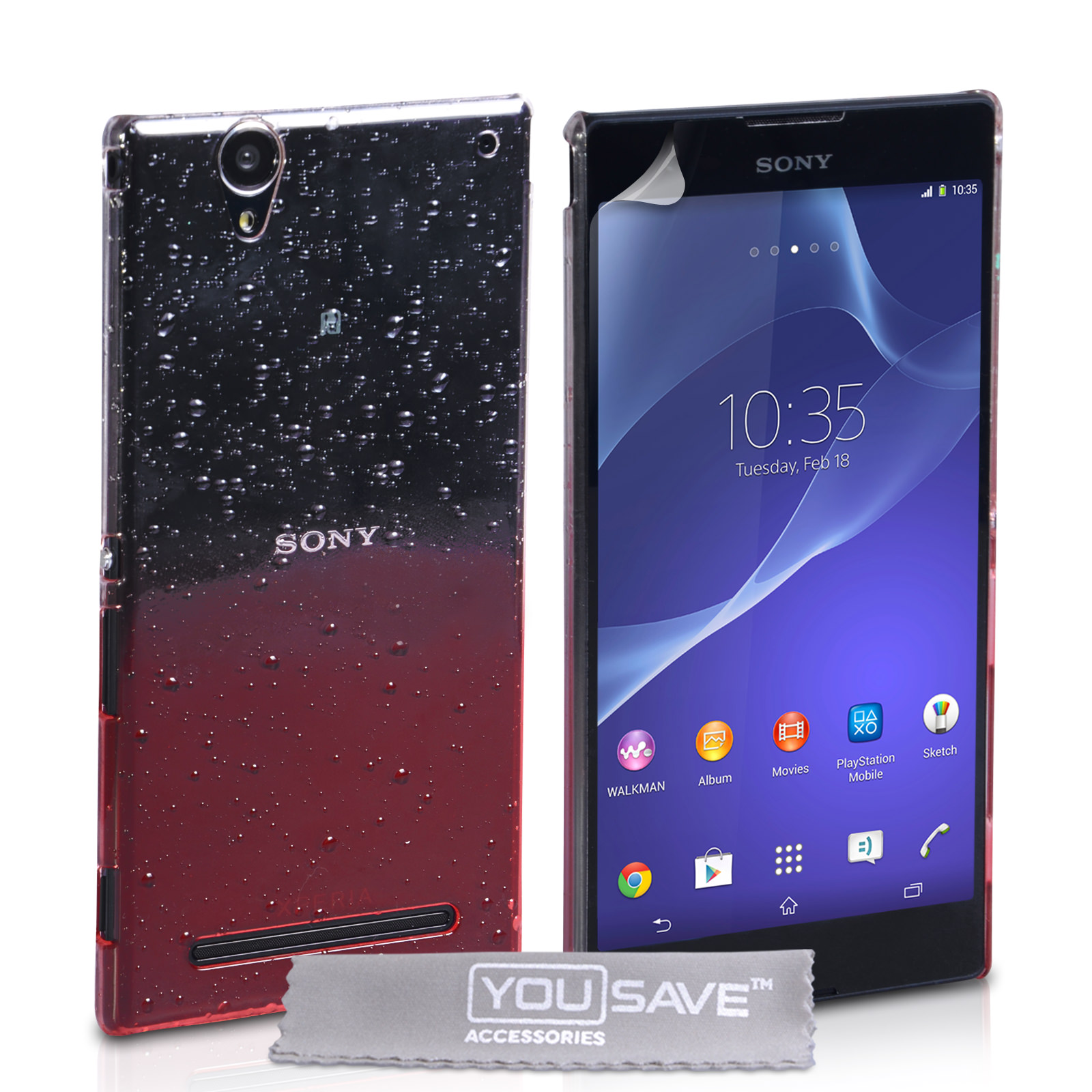 YouSave Sony Xperia T2 Ultra Raindrop Hard Case - Red-Clear