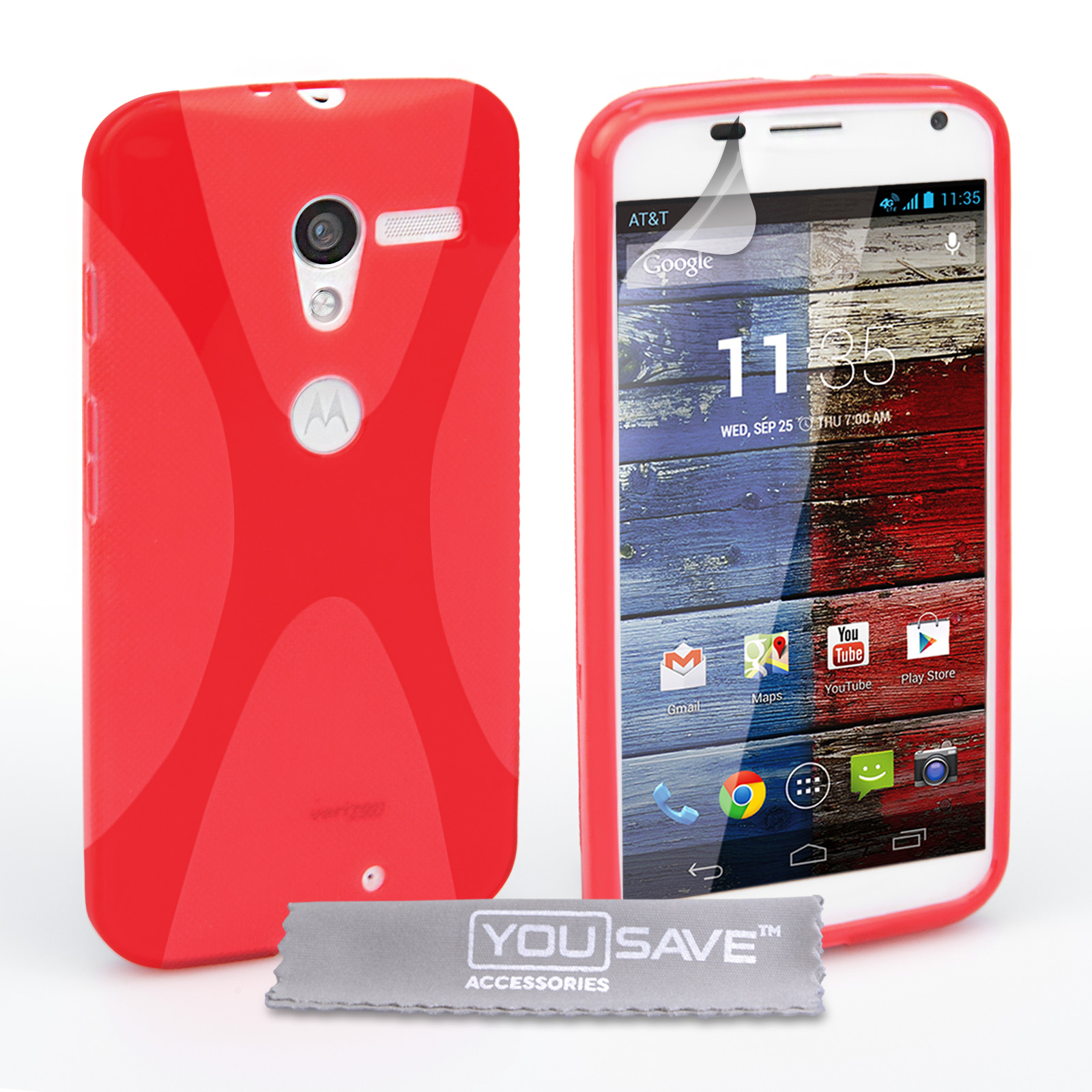 YouSave Accessories Motorola Moto X Silicone Gel X-Line Case - Red