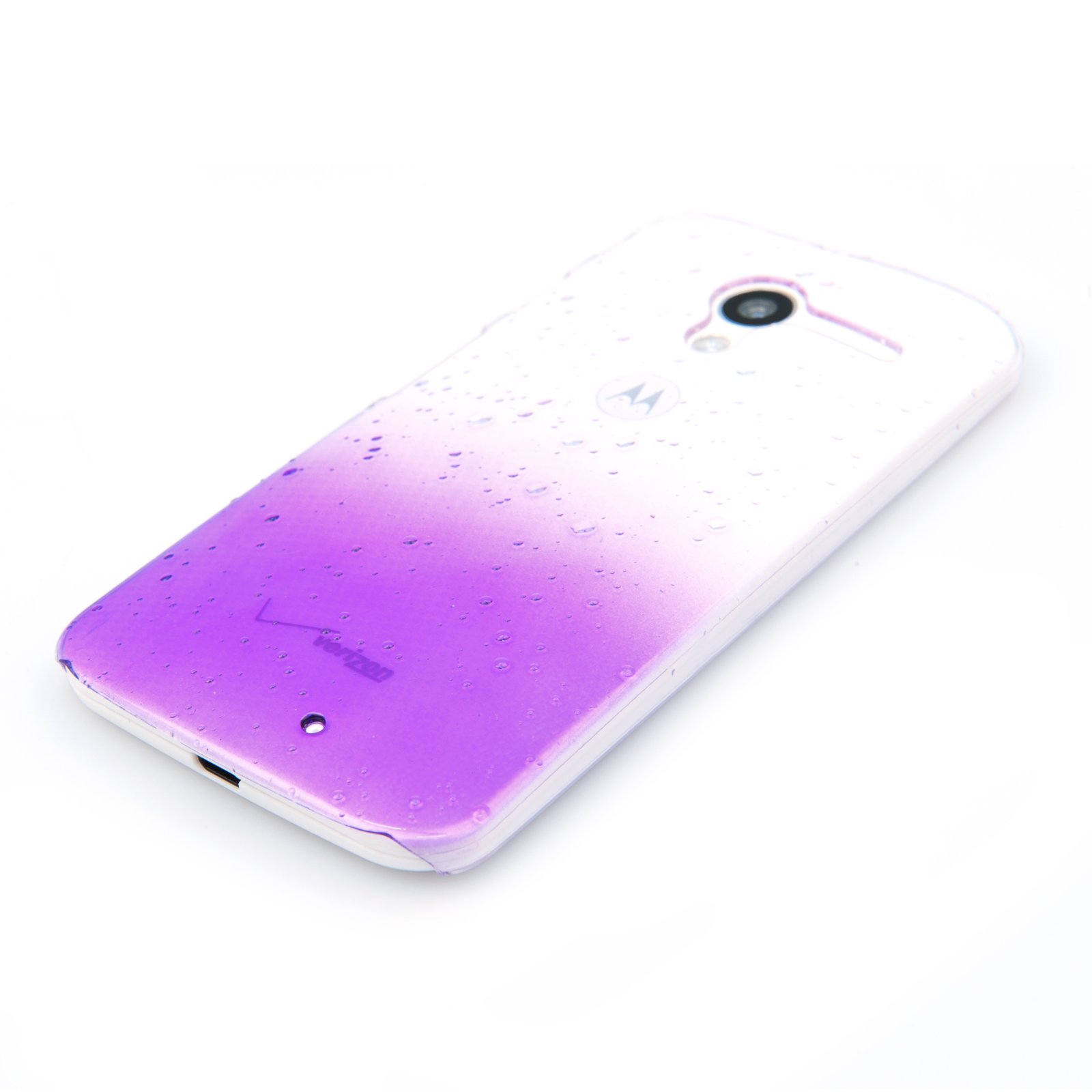 YouSave Accessories Motorola Moto X Raindrop Hard Case - Purple-Clear