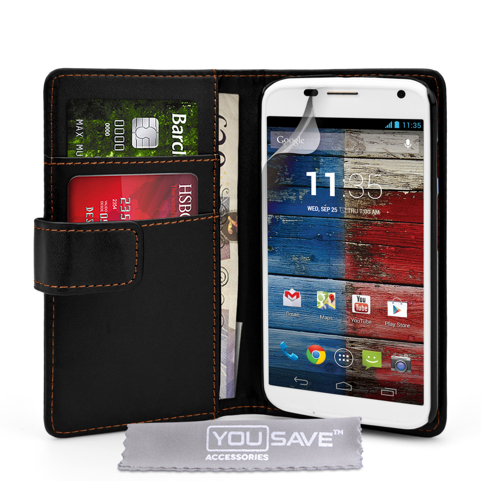 YouSave Accessories Motorola Moto X Leather-Effect Wallet Case - Black