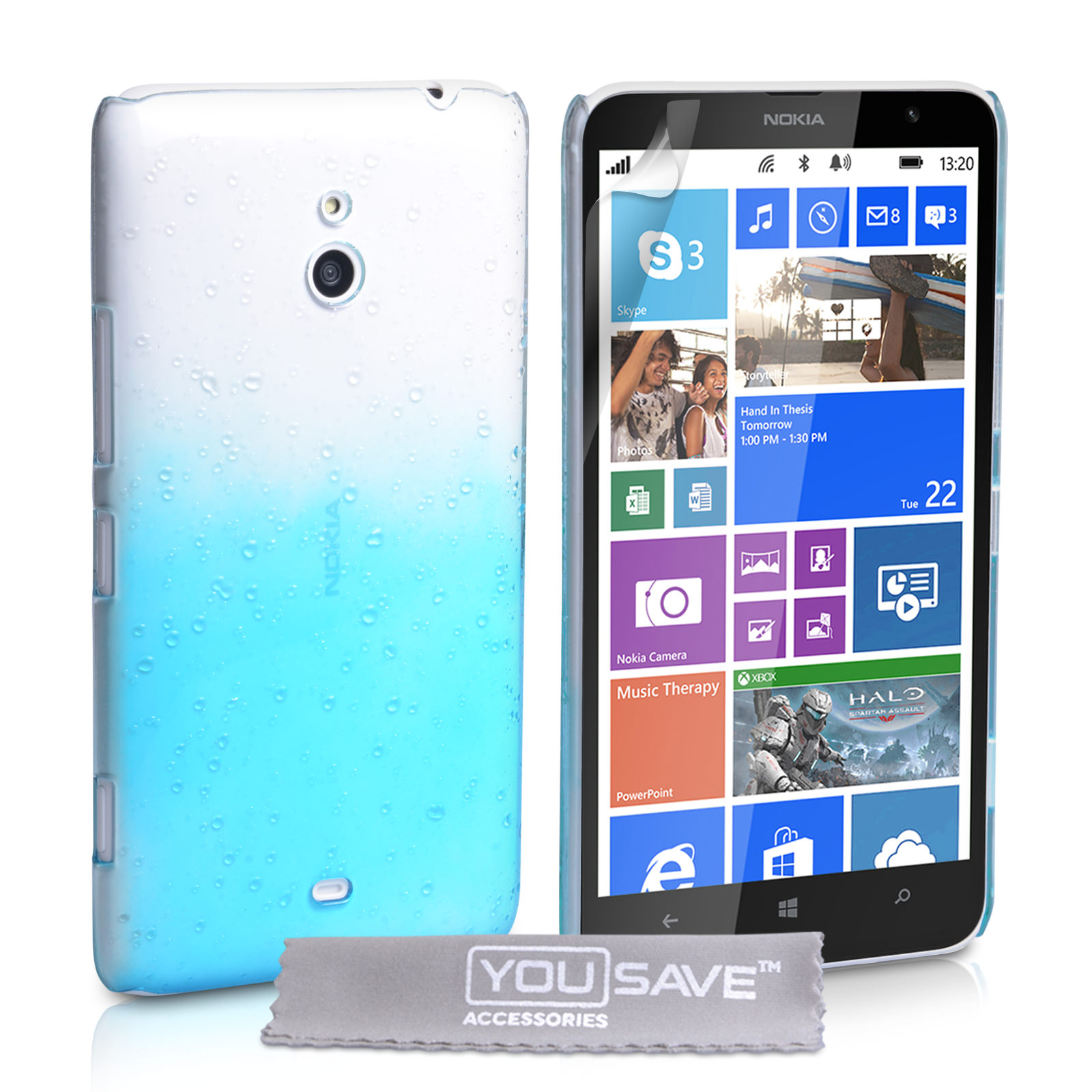 YouSave Accessories Nokia Lumia 1320 Raindrop Hard Case - Blue-Clear