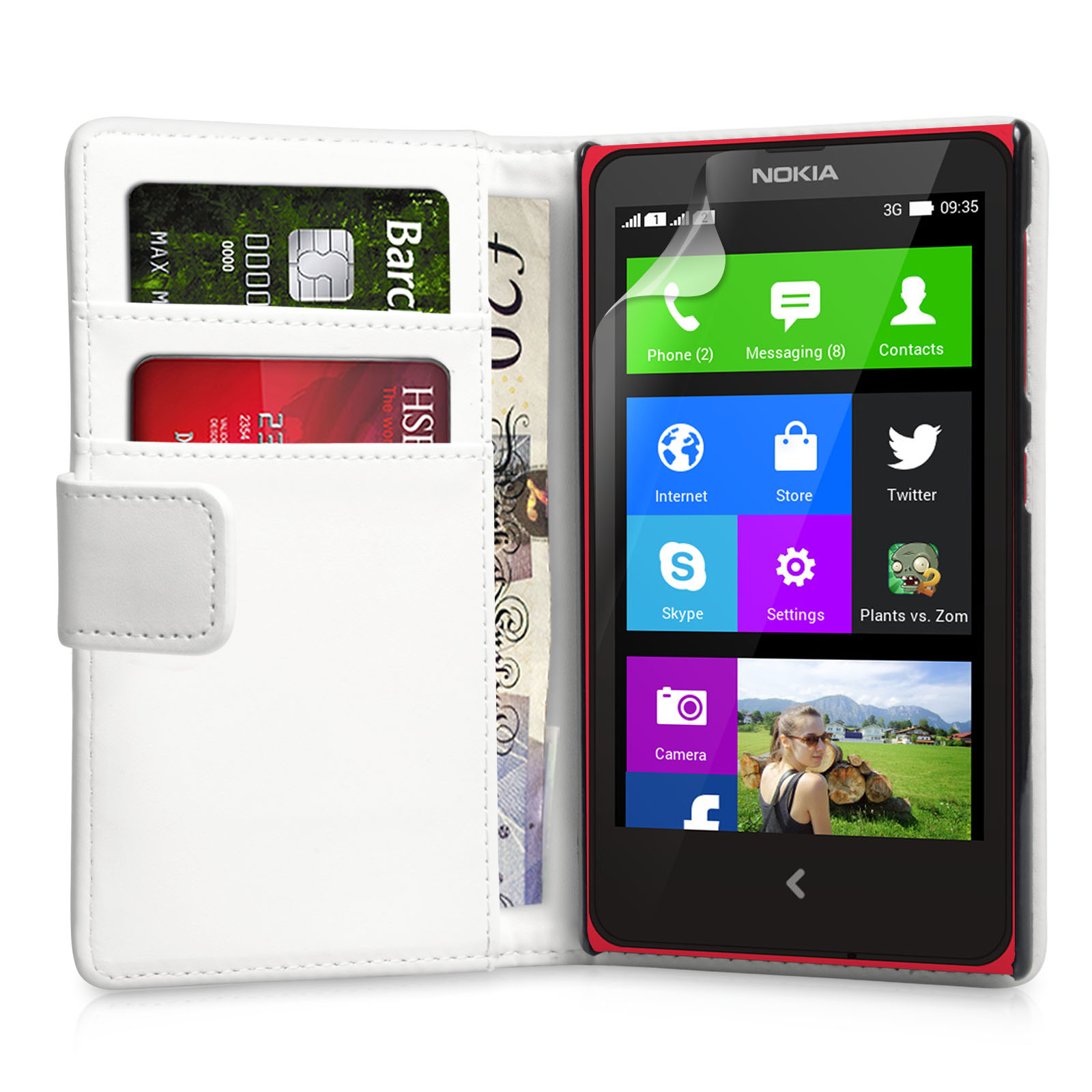 YouSave Accessories Nokia X Leather-Effect Wallet Case - White