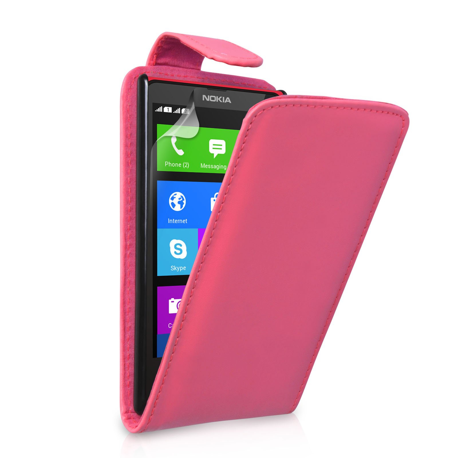 YouSave Accessories Nokia X Leather-Effect Flip Case - Hot Pink
