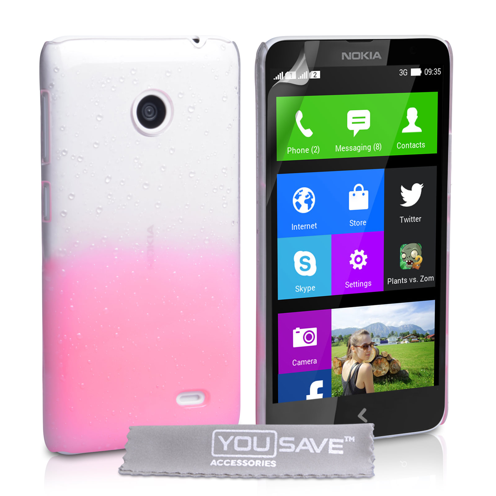 YouSave Accessories Nokia X Raindrop Hard Case - Baby Pink-Clear