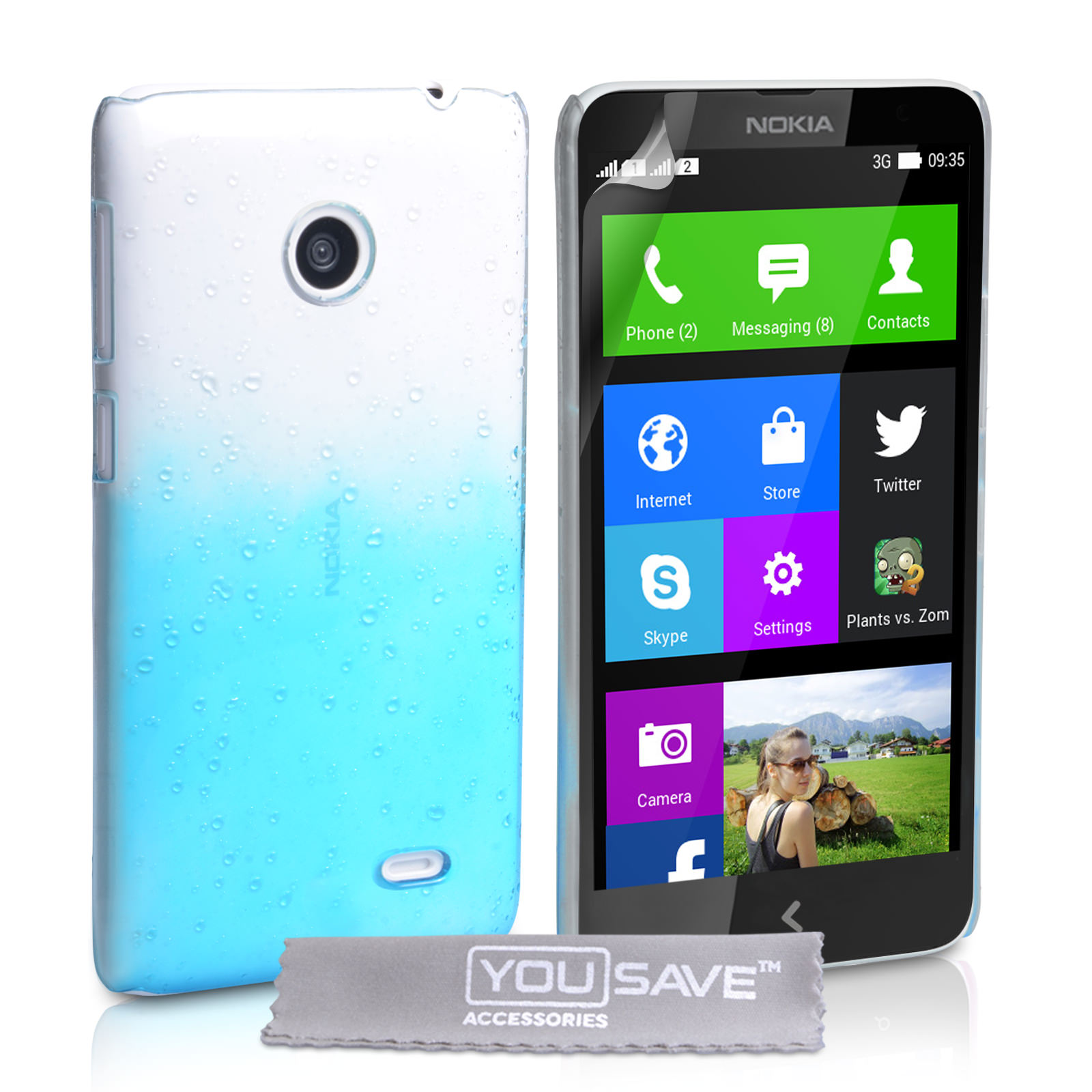 YouSave Accessories Nokia X Raindrop Hard Case - Blue-Clear