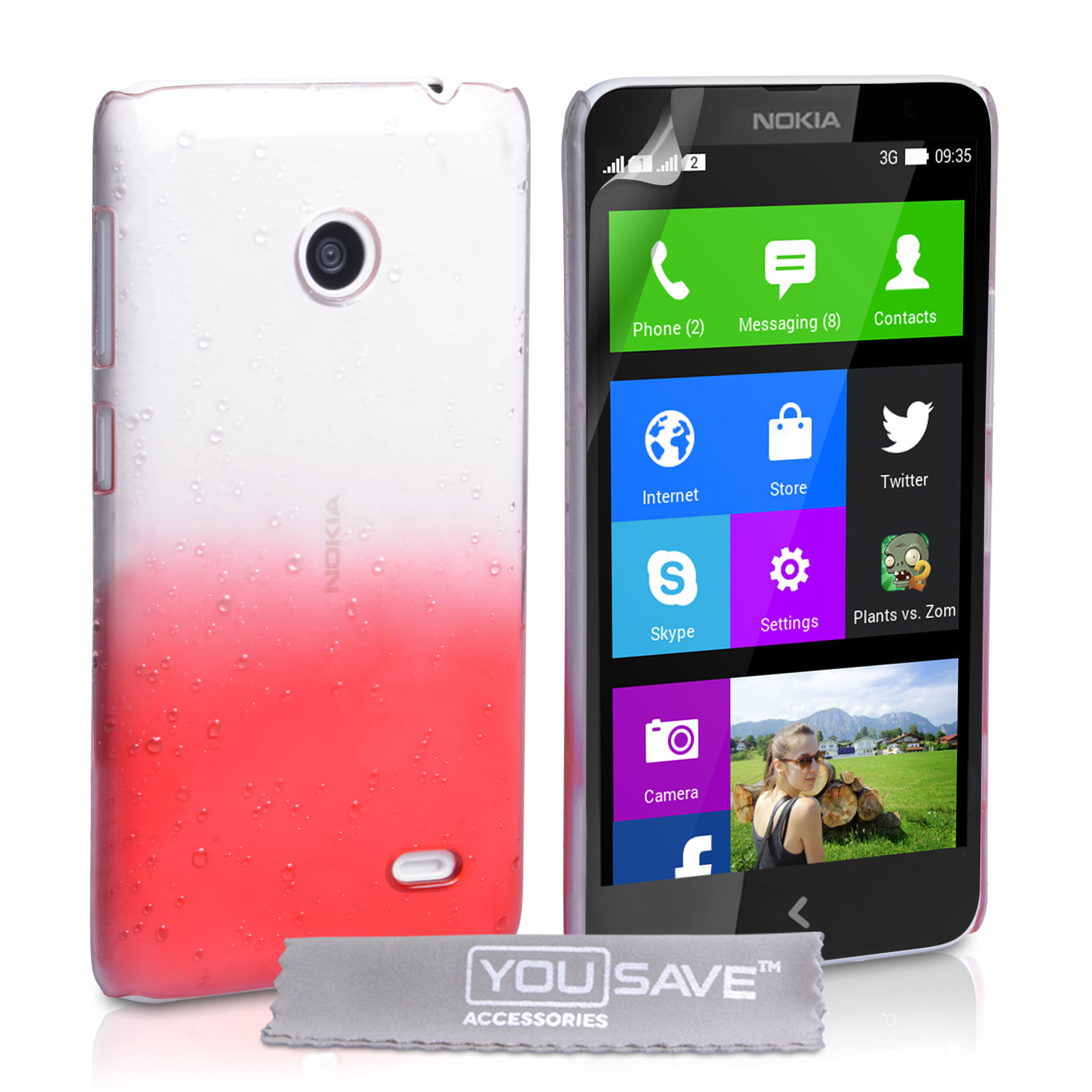 YouSave Accessories Nokia X Raindrop Hard Case - Red-Clear