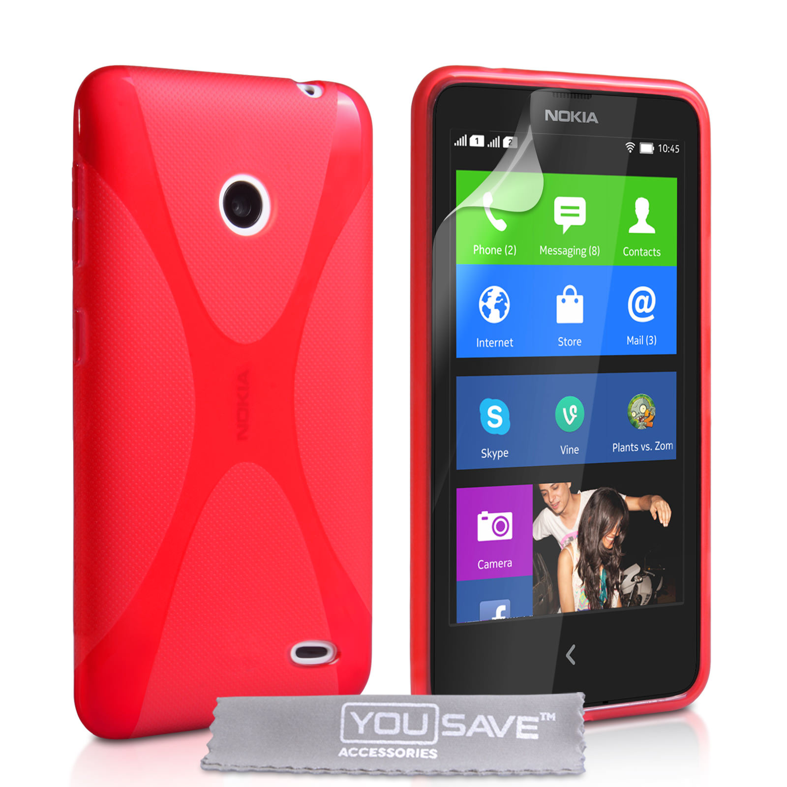 YouSave Accessories Nokia X Silicone Gel X-Line Case - Red
