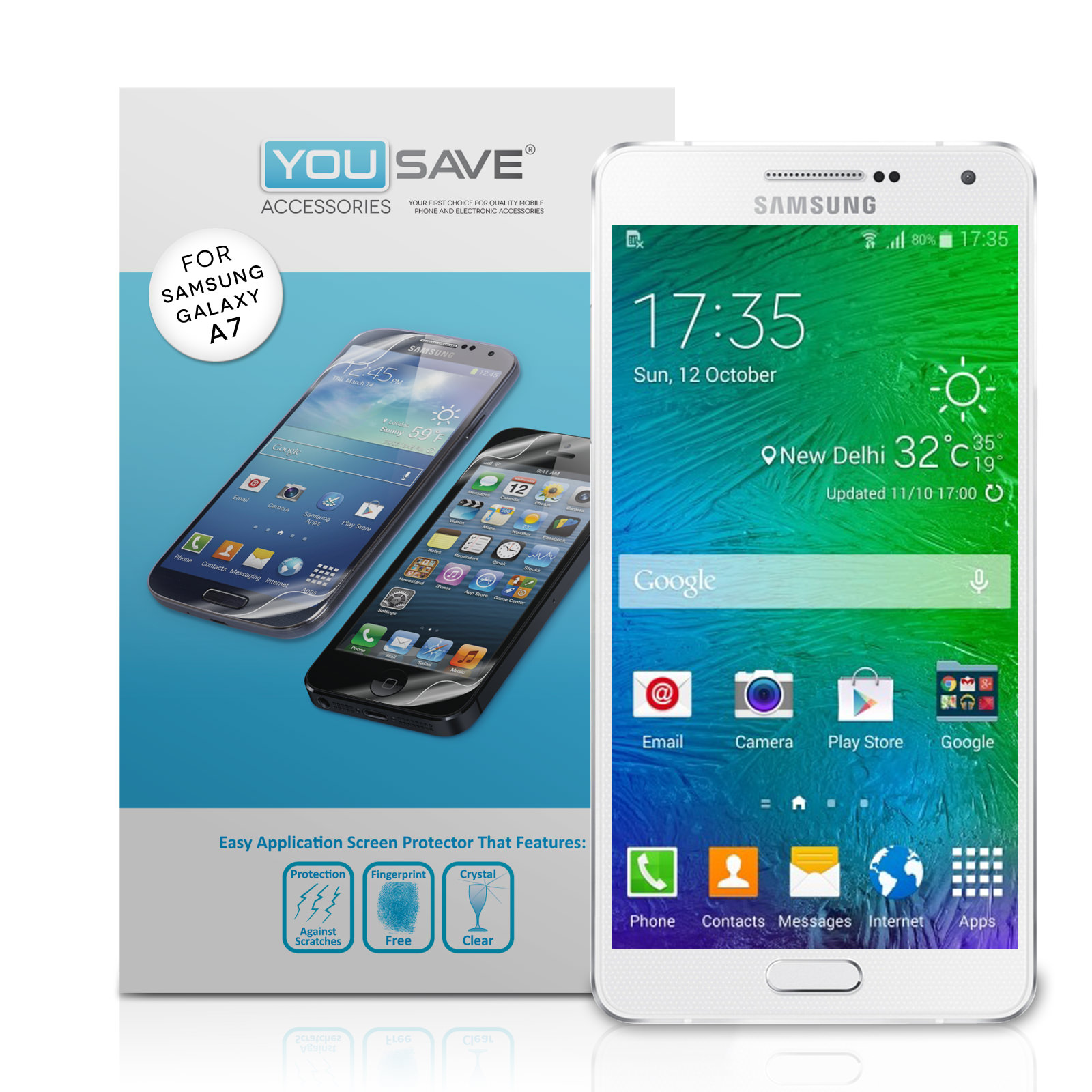 yousave accessories samsung galaxy a7 screen protectors x3. Black Bedroom Furniture Sets. Home Design Ideas