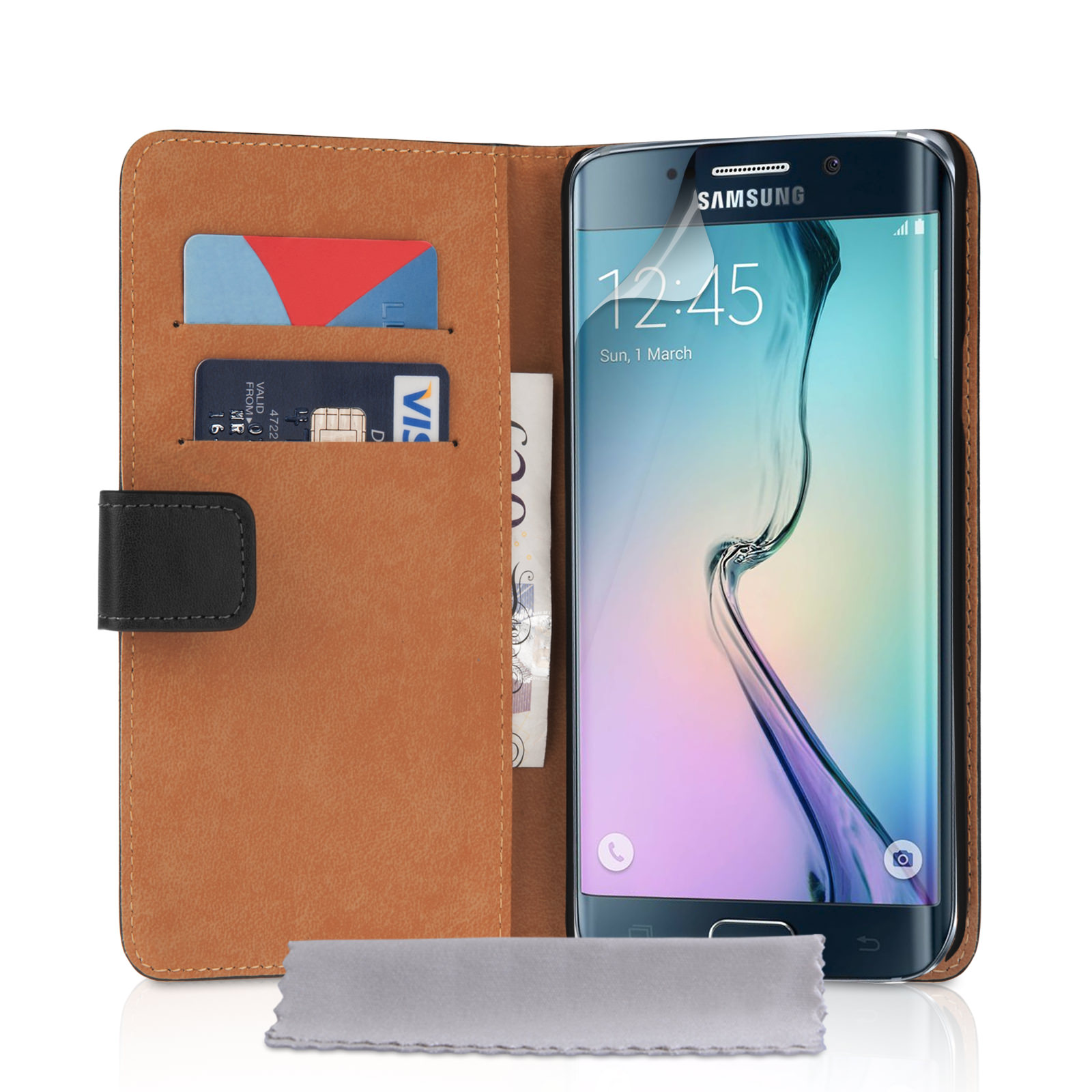 YouSave Samsung Galaxy S6 Edge Real Leather Wallet Case - Black