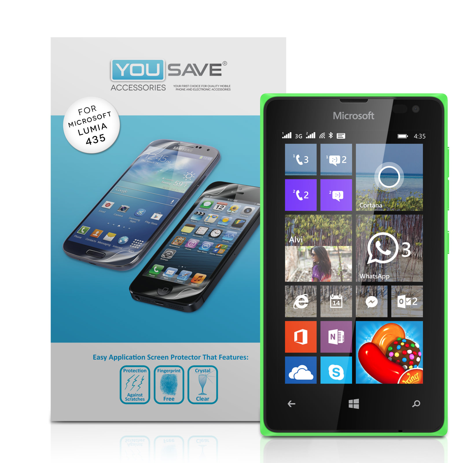 YouSave Accessories Microsoft Lumia 435 Screen Protectors x3