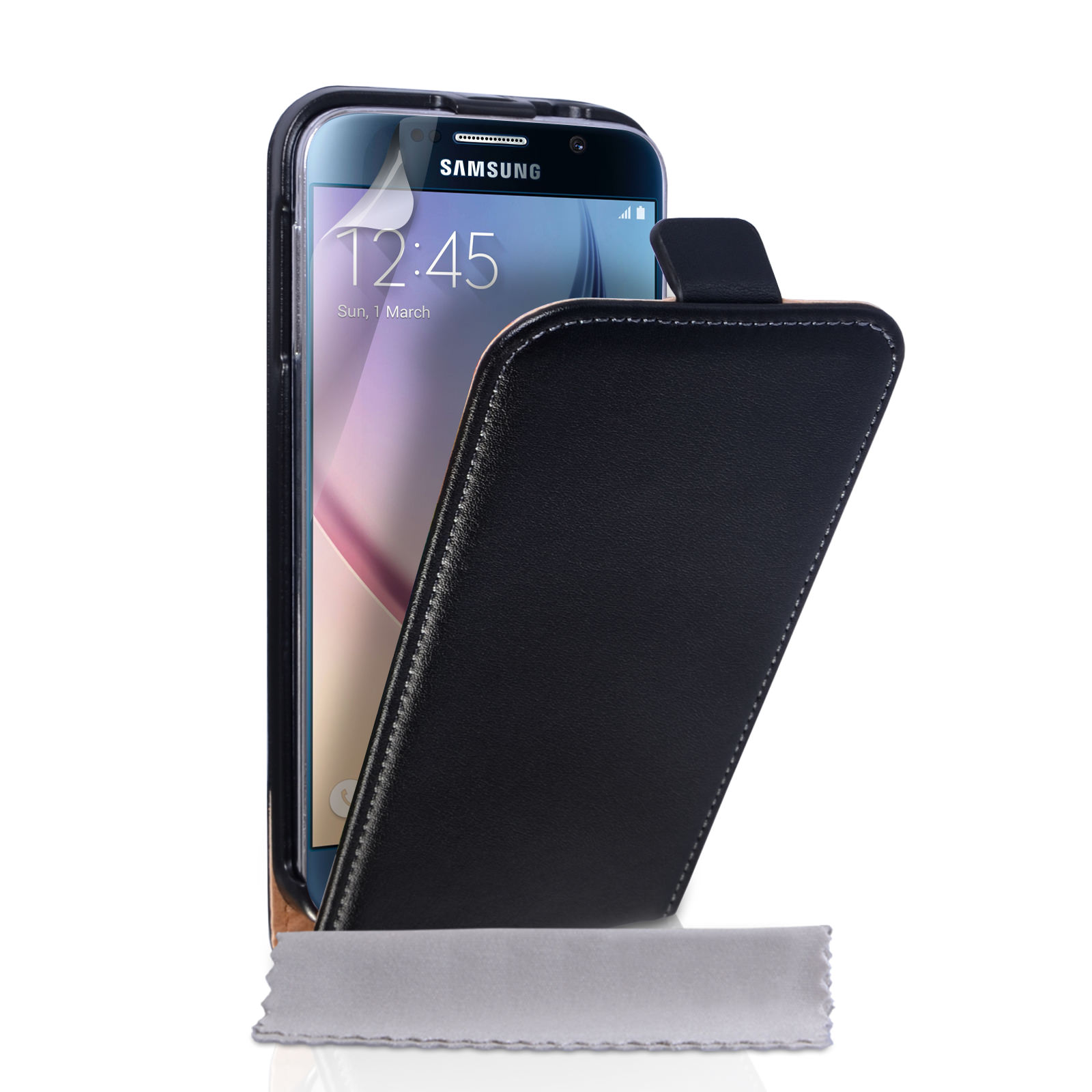yousave samsung galaxy s6 real leather flip case blac. Black Bedroom Furniture Sets. Home Design Ideas