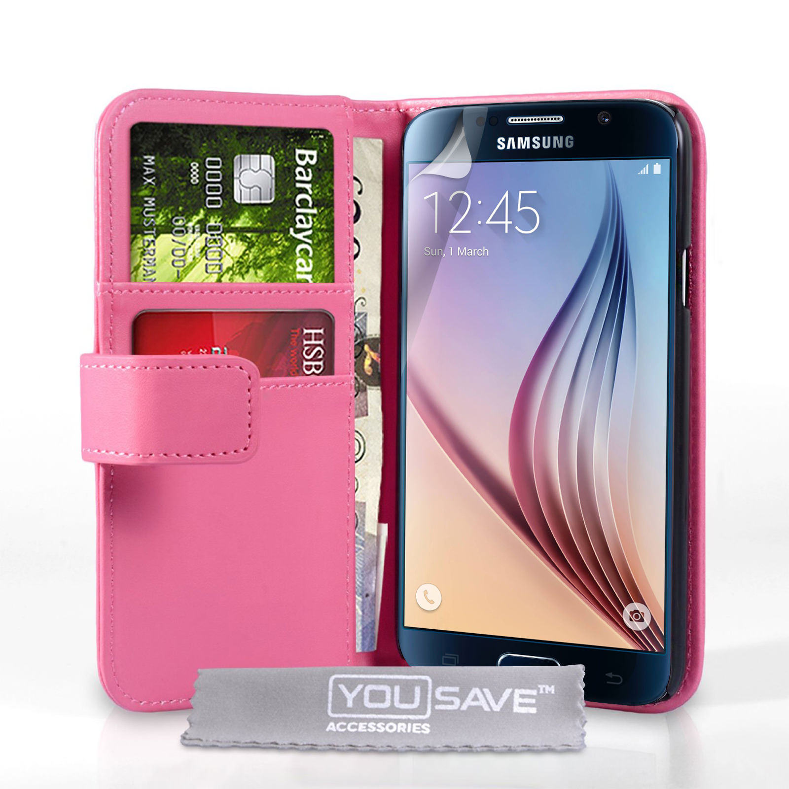 YouSave Samsung Galaxy S6 Leather-Effect Wallet Case - Hot Pink