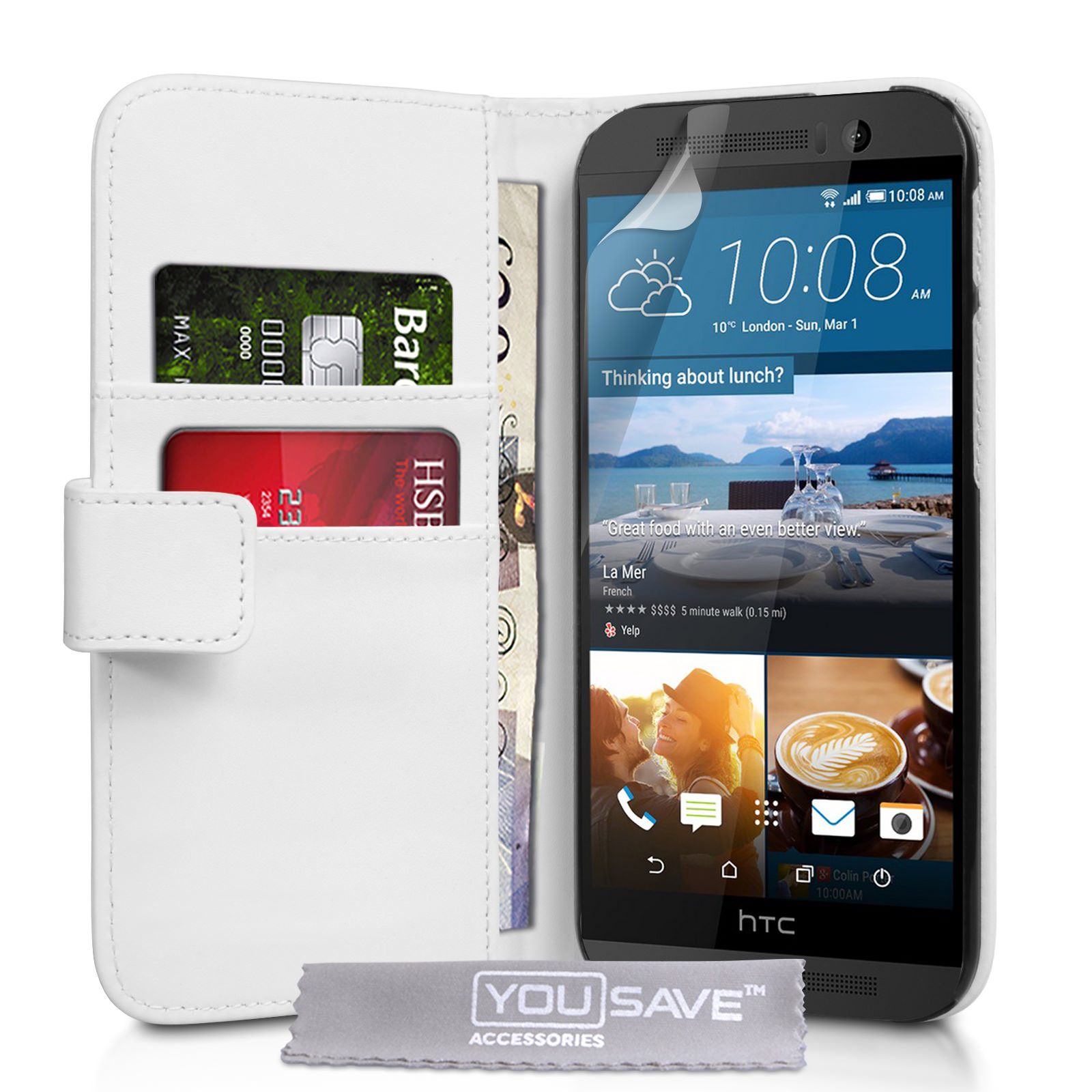 YouSave HTC M9 Leather-Effect Wallet Case - White