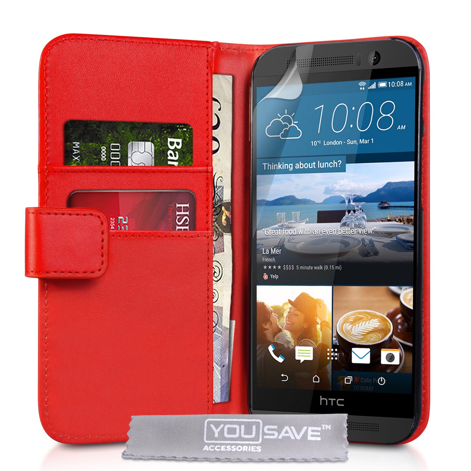 YouSave HTC M9 Leather-Effect Wallet Case - Red
