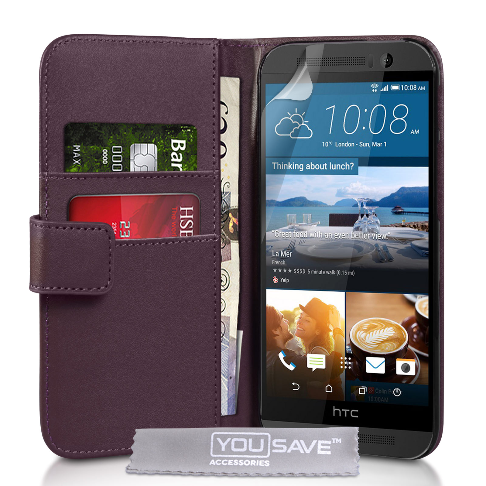 YouSave HTC M9 Leather-Effect Wallet Case - Purple