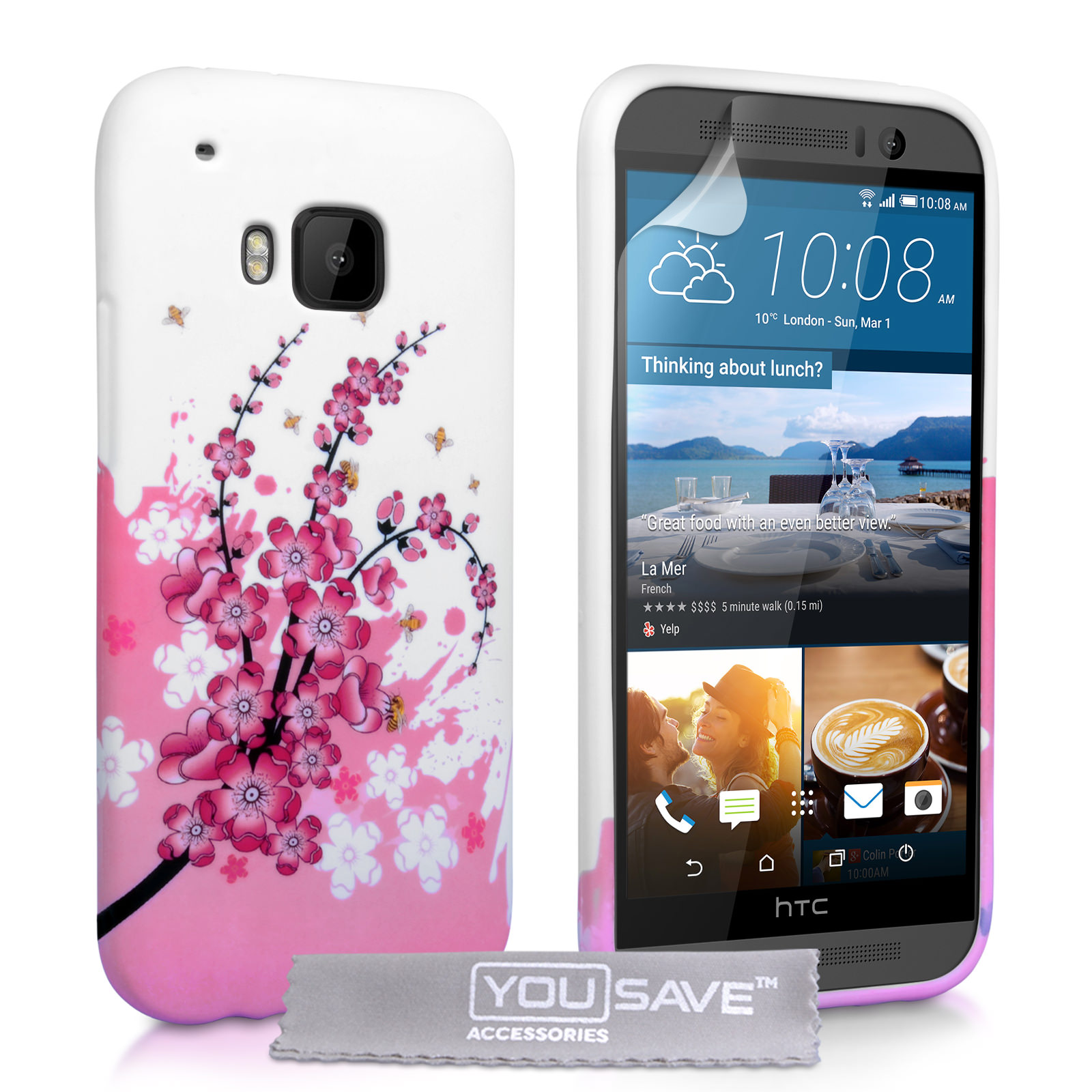 YouSave HTC M9 Floral Bee Silicone Gel Case
